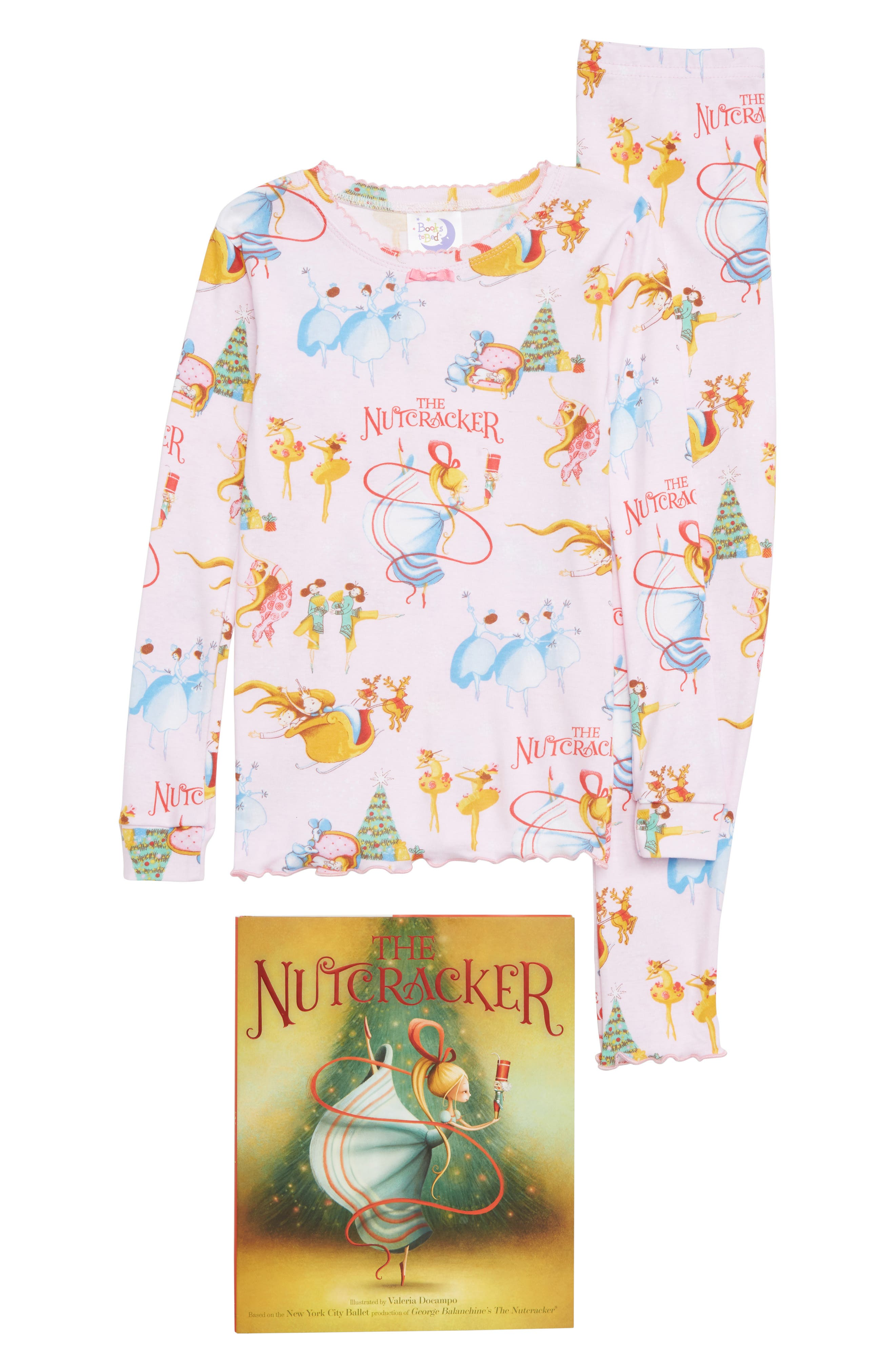 The Nutcracker Fitted Two-Piece Pajamas & Book Set,                         Main,                         color, 680