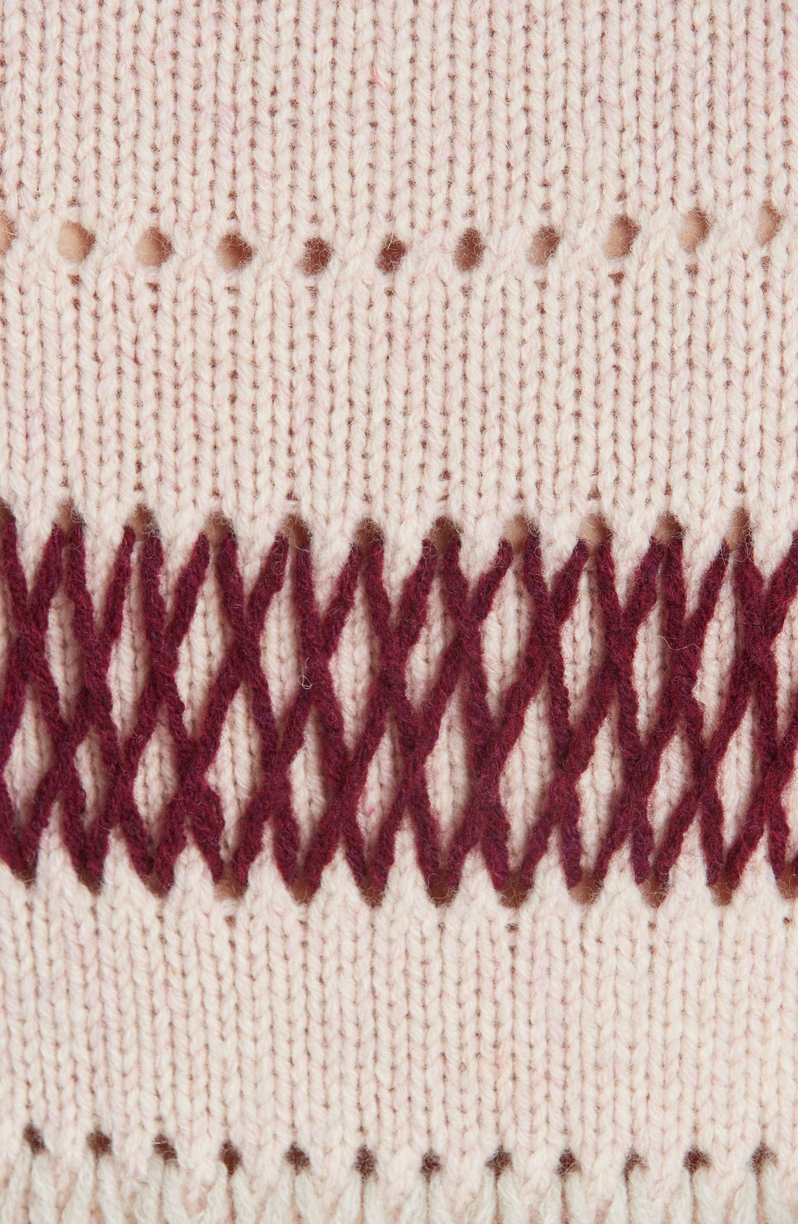 Embroidered Stripe Wool Sweater,                             Alternate thumbnail 6, color,                             PALE PINK BURGUNDY
