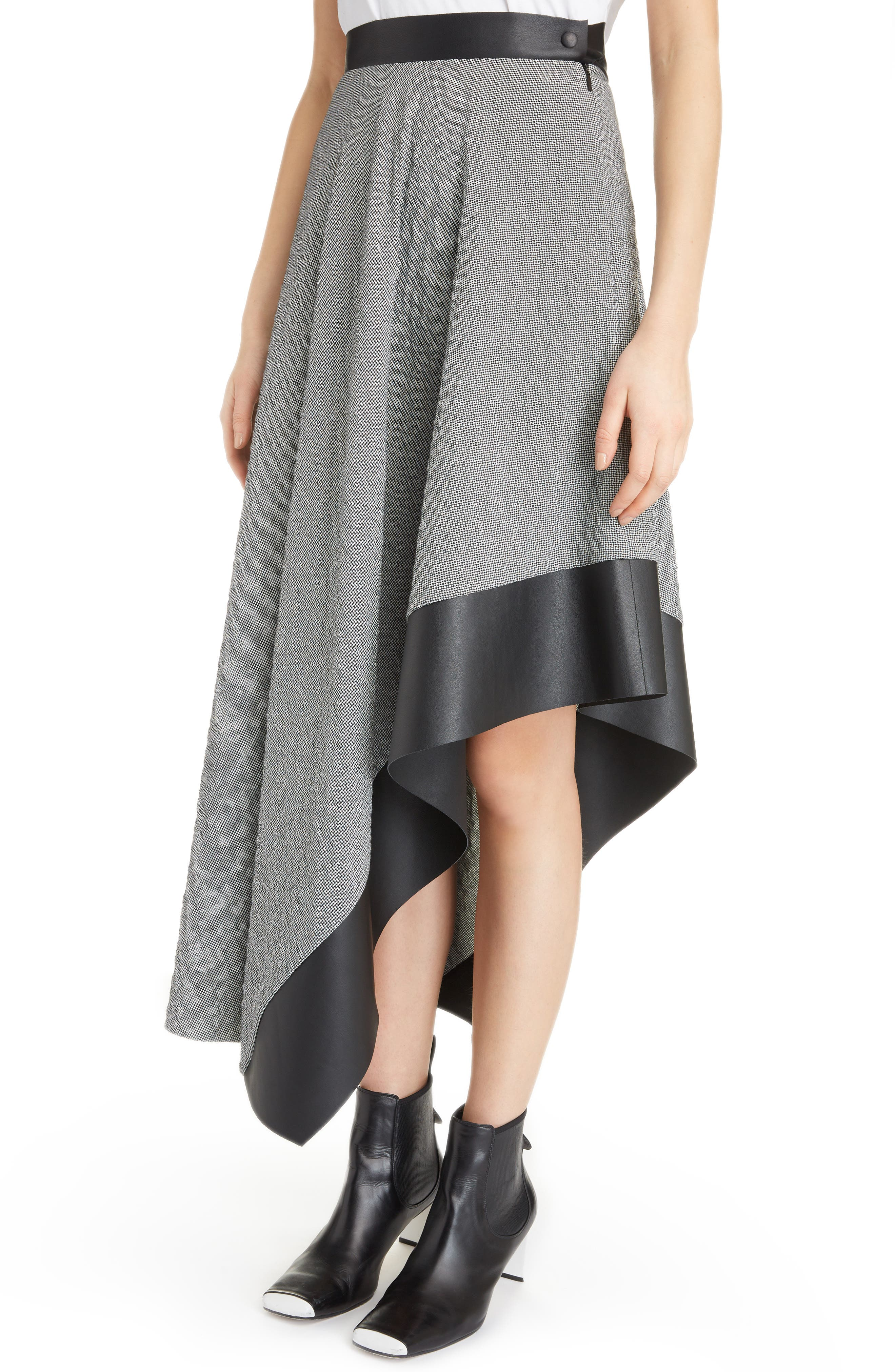 Leather Trim Asymmetrical Skirt,                             Alternate thumbnail 4, color,                             002