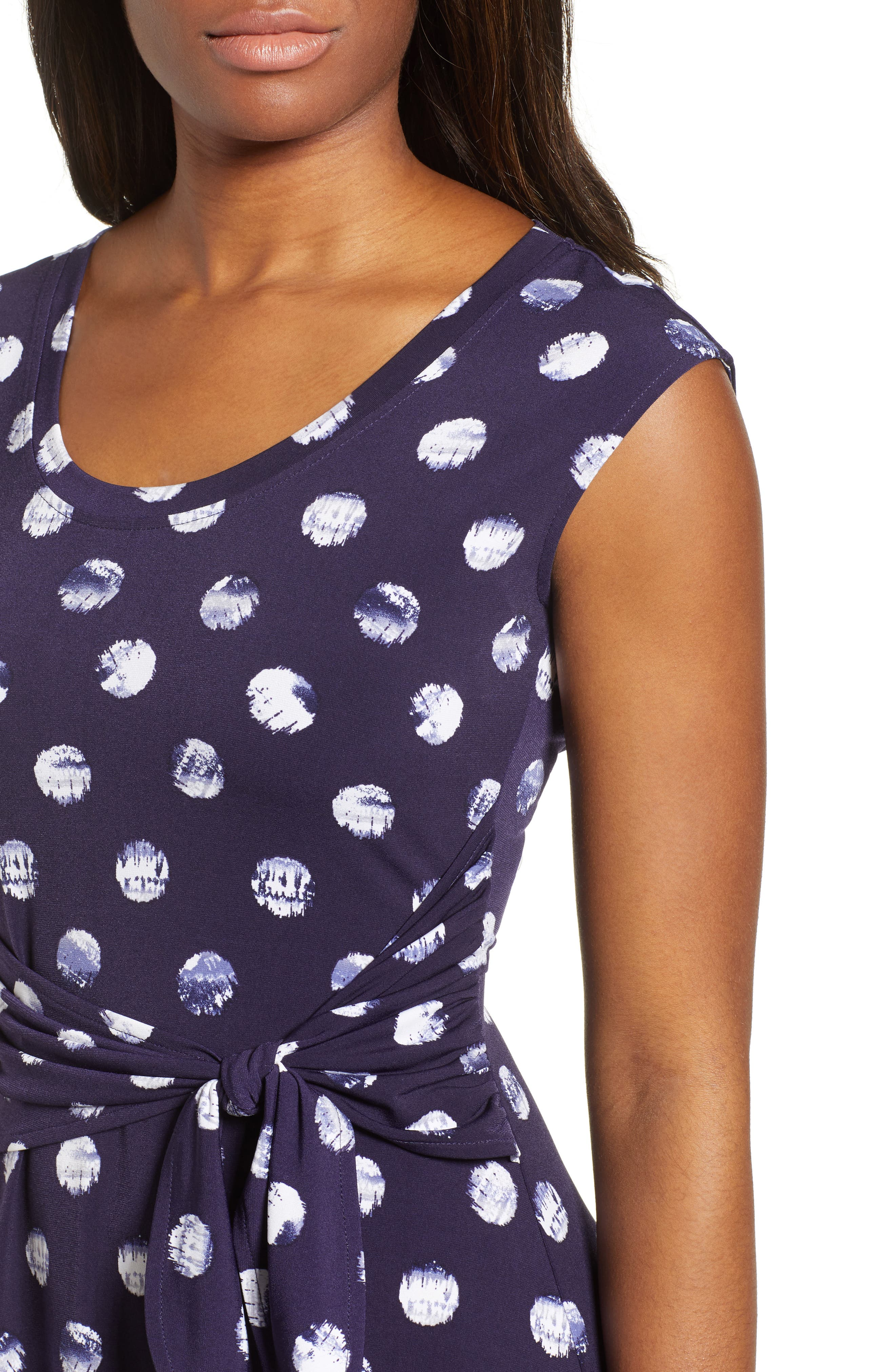 Tie Dye Dot A-Line Dress,                             Alternate thumbnail 4, color,                             EVENING NAVY