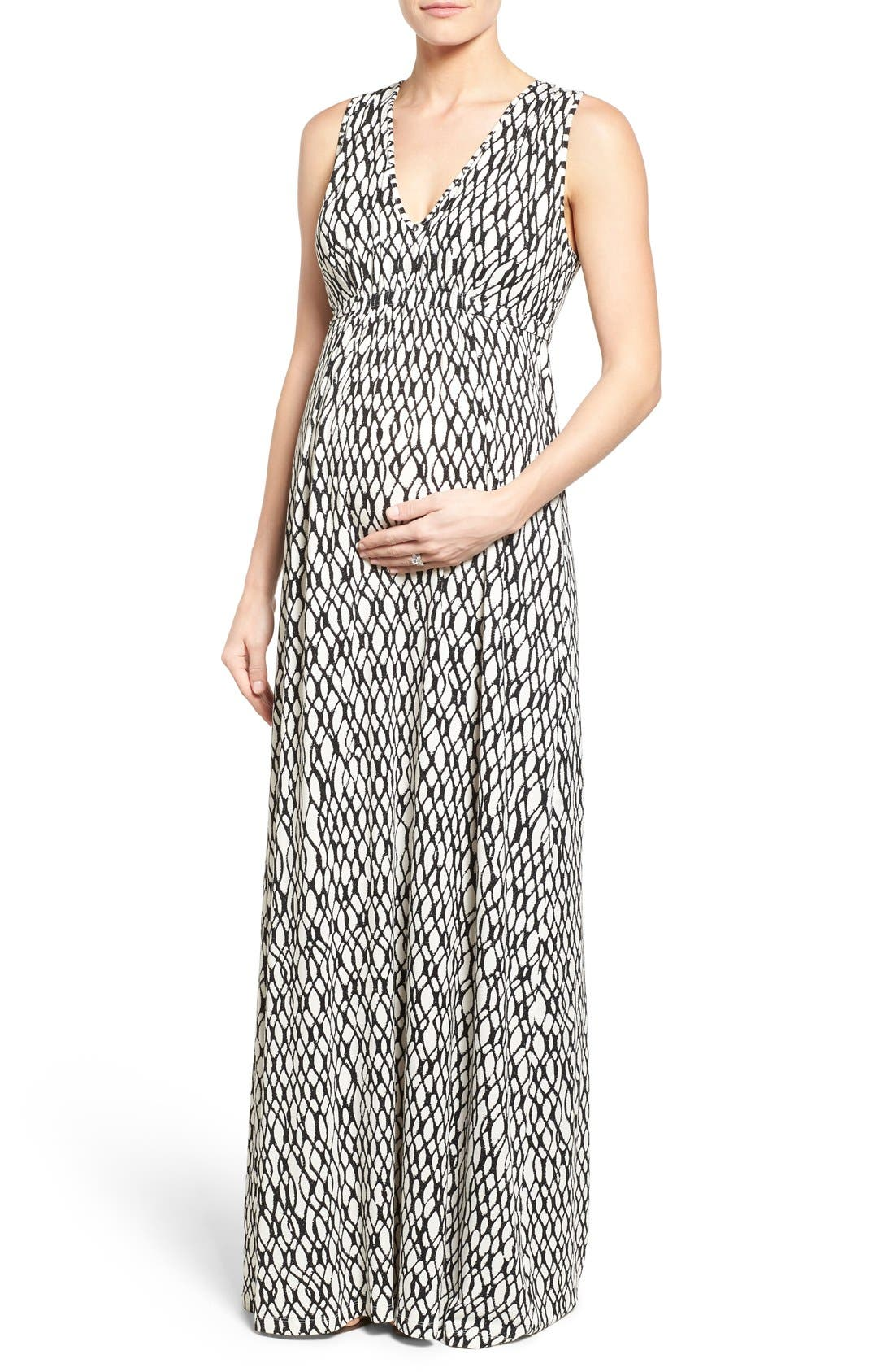 'Grecia' Print Jersey Maternity Maxi Dress,                             Main thumbnail 1, color,                             101
