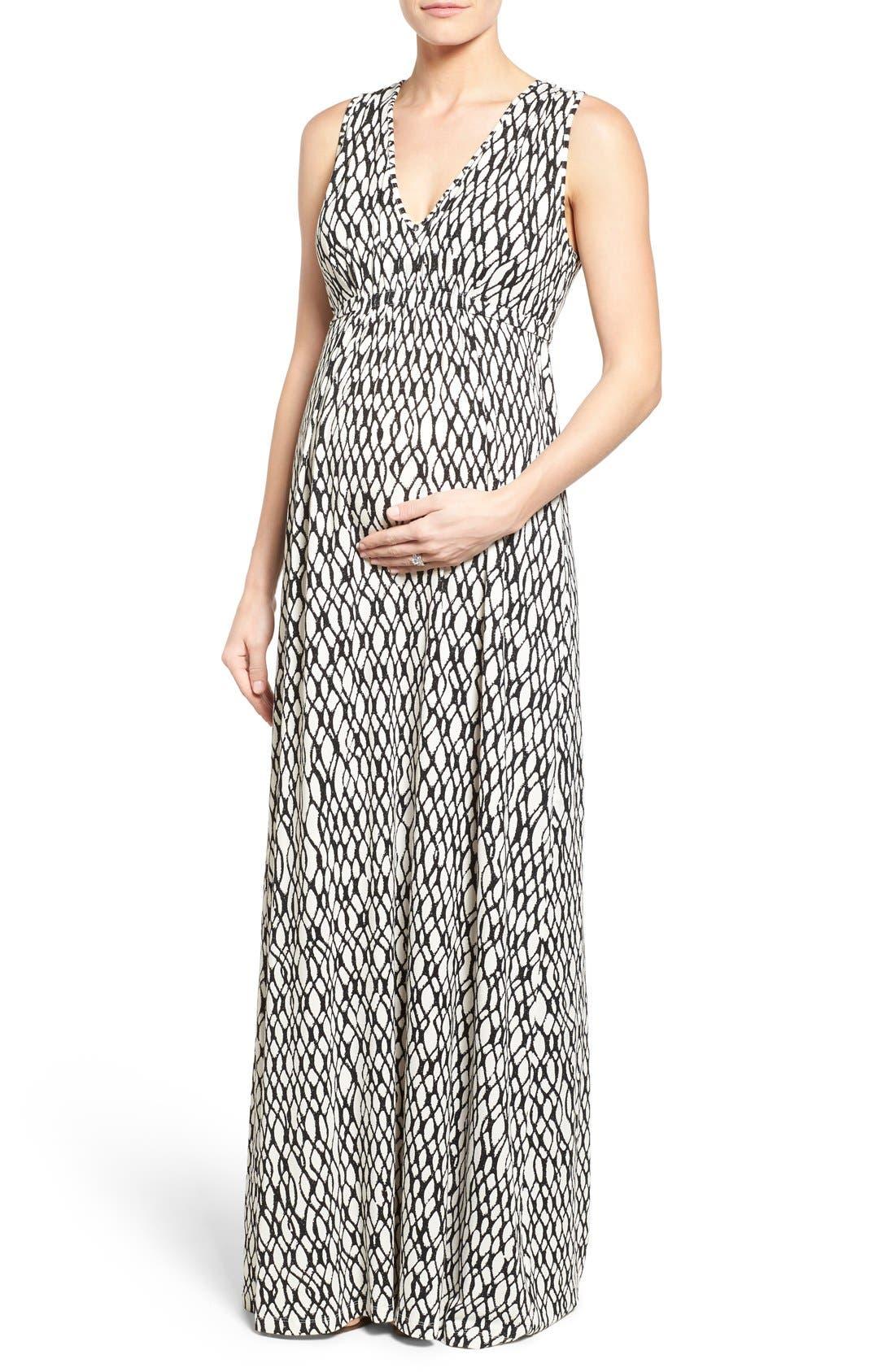 'Grecia' Print Jersey Maternity Maxi Dress,                         Main,                         color, 101