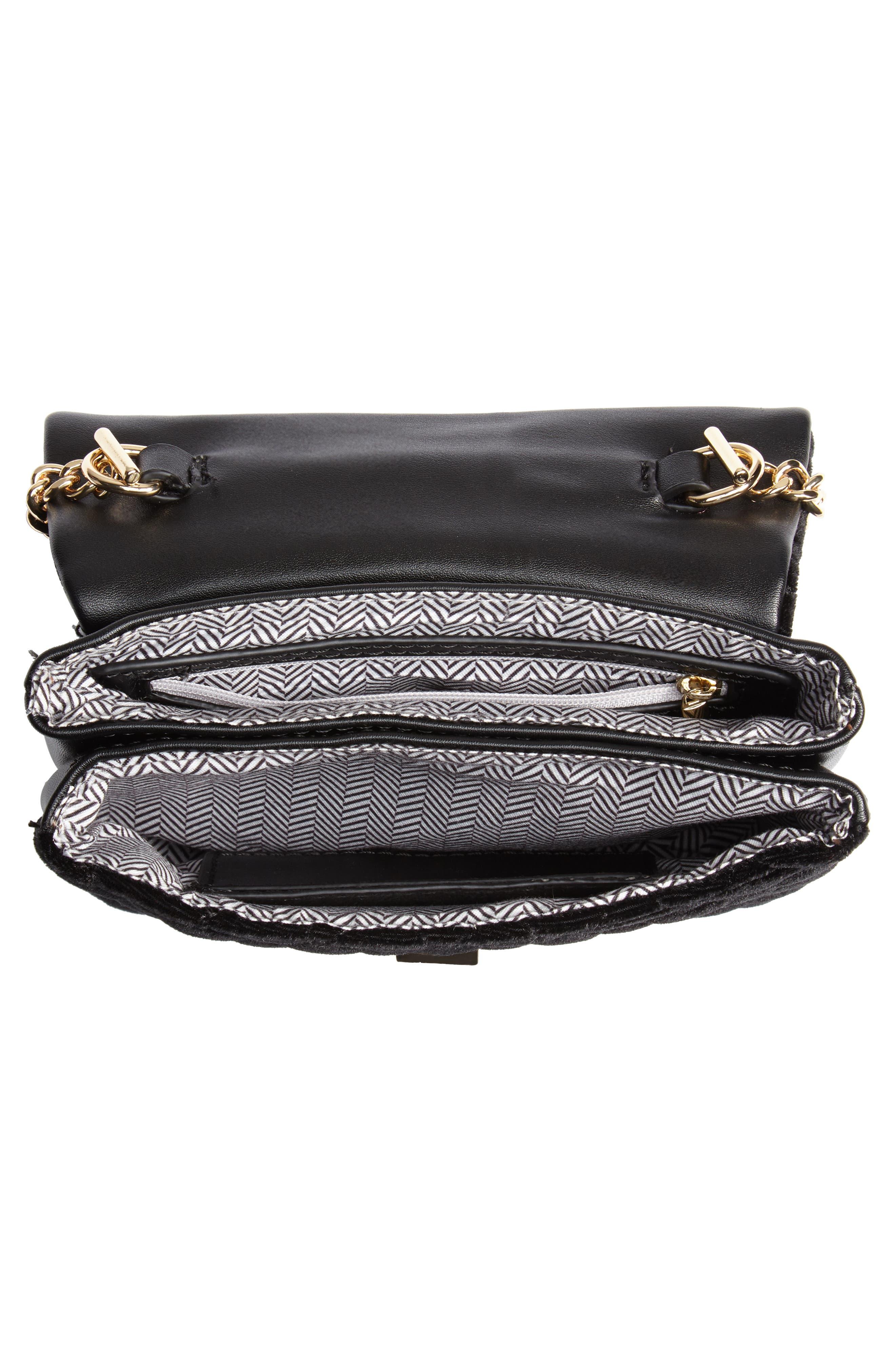 Mali + Lili Nikki Quilted Velvet Belt Bag,                             Alternate thumbnail 6, color,                             BLACK