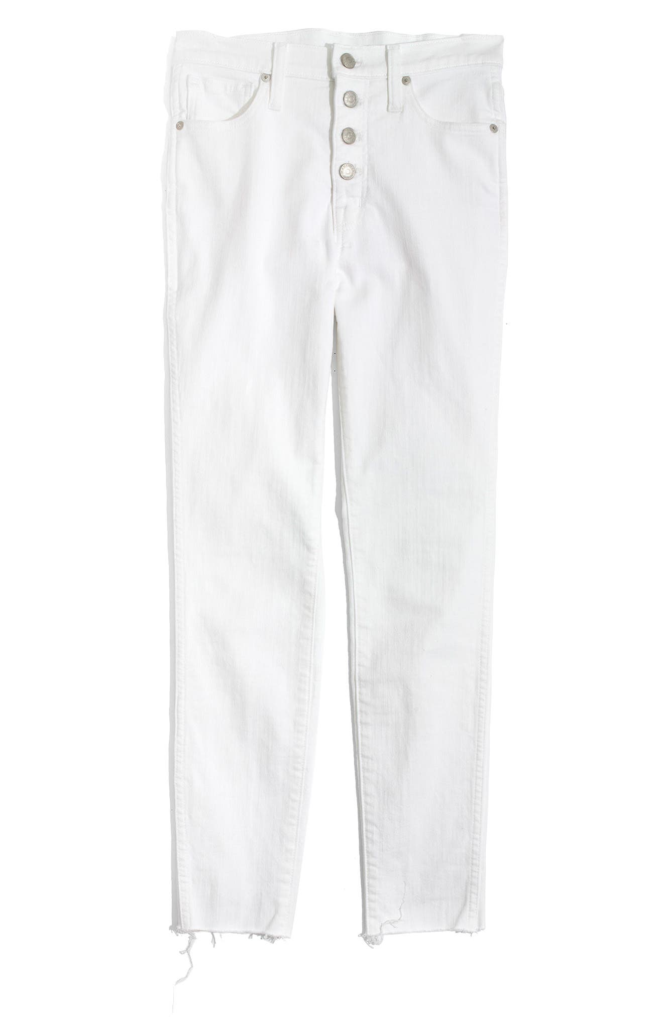 10-Inch Button High Waist Crop Skinny Jeans,                             Alternate thumbnail 6, color,                             PURE WHITE