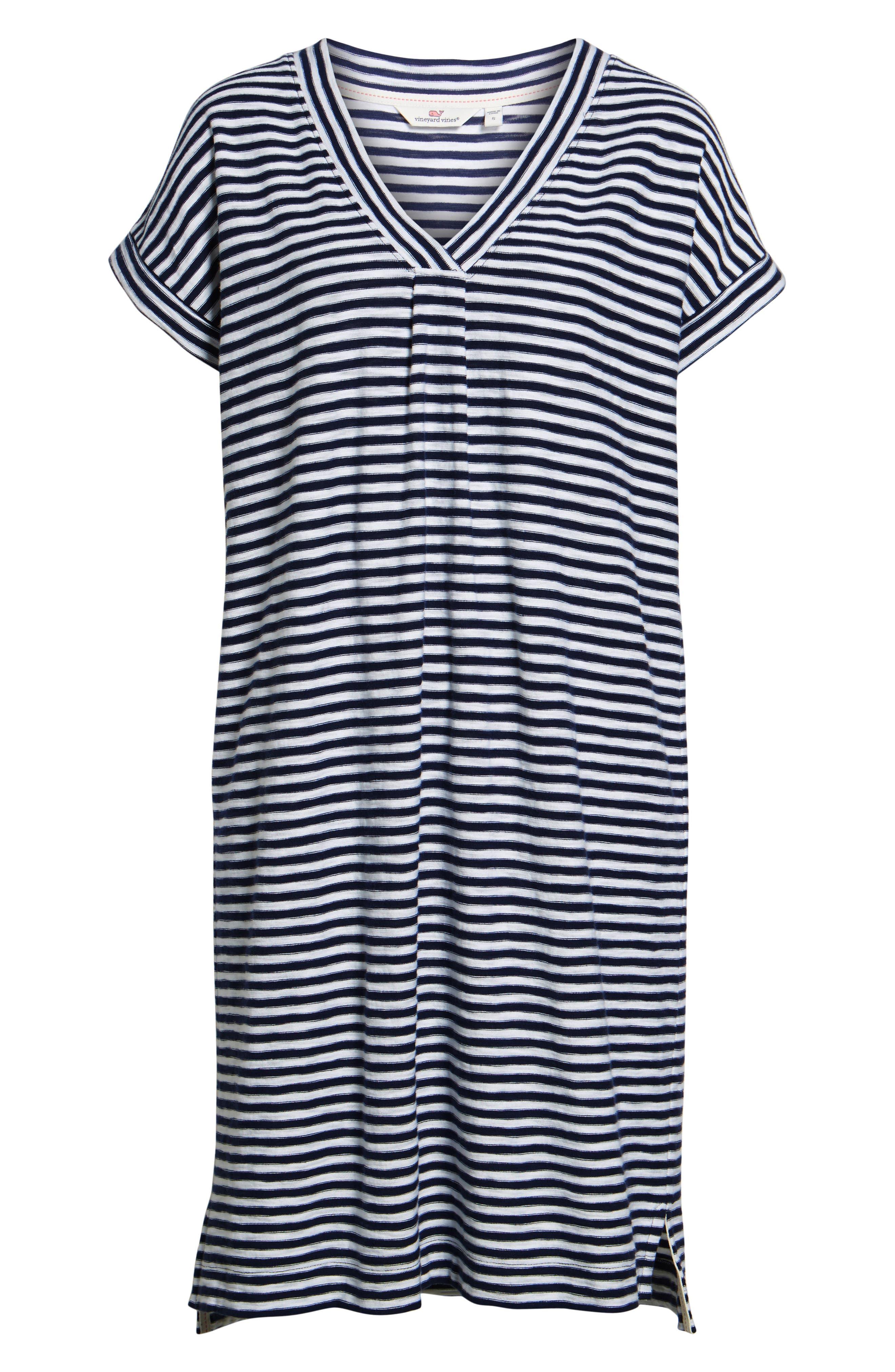 Stripe V-Neck Shirtdress,                             Alternate thumbnail 6, color,                             479