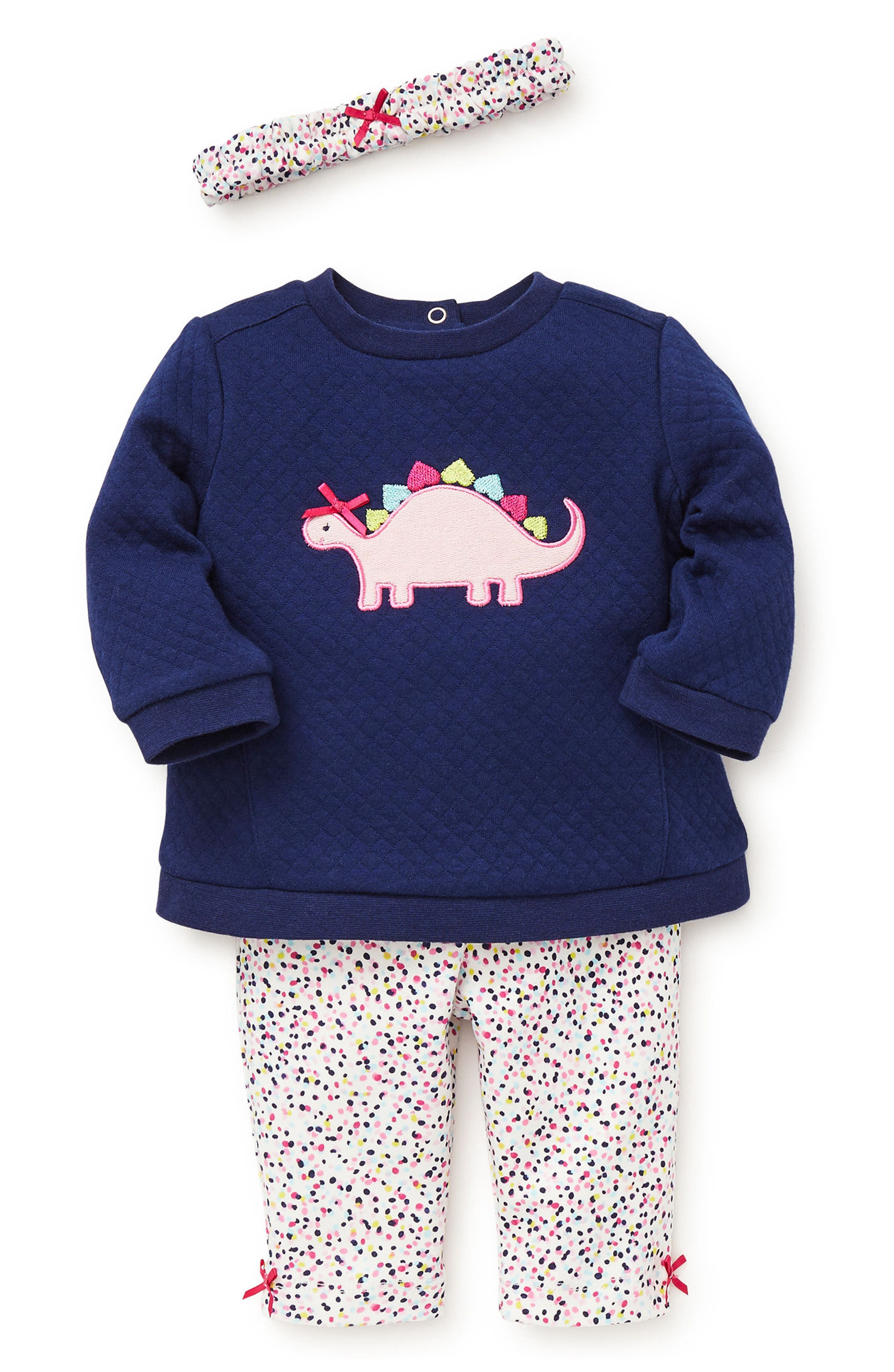Dino Quilted Sweatshirt, Leggings & Headband Set,                             Main thumbnail 1, color,                             459