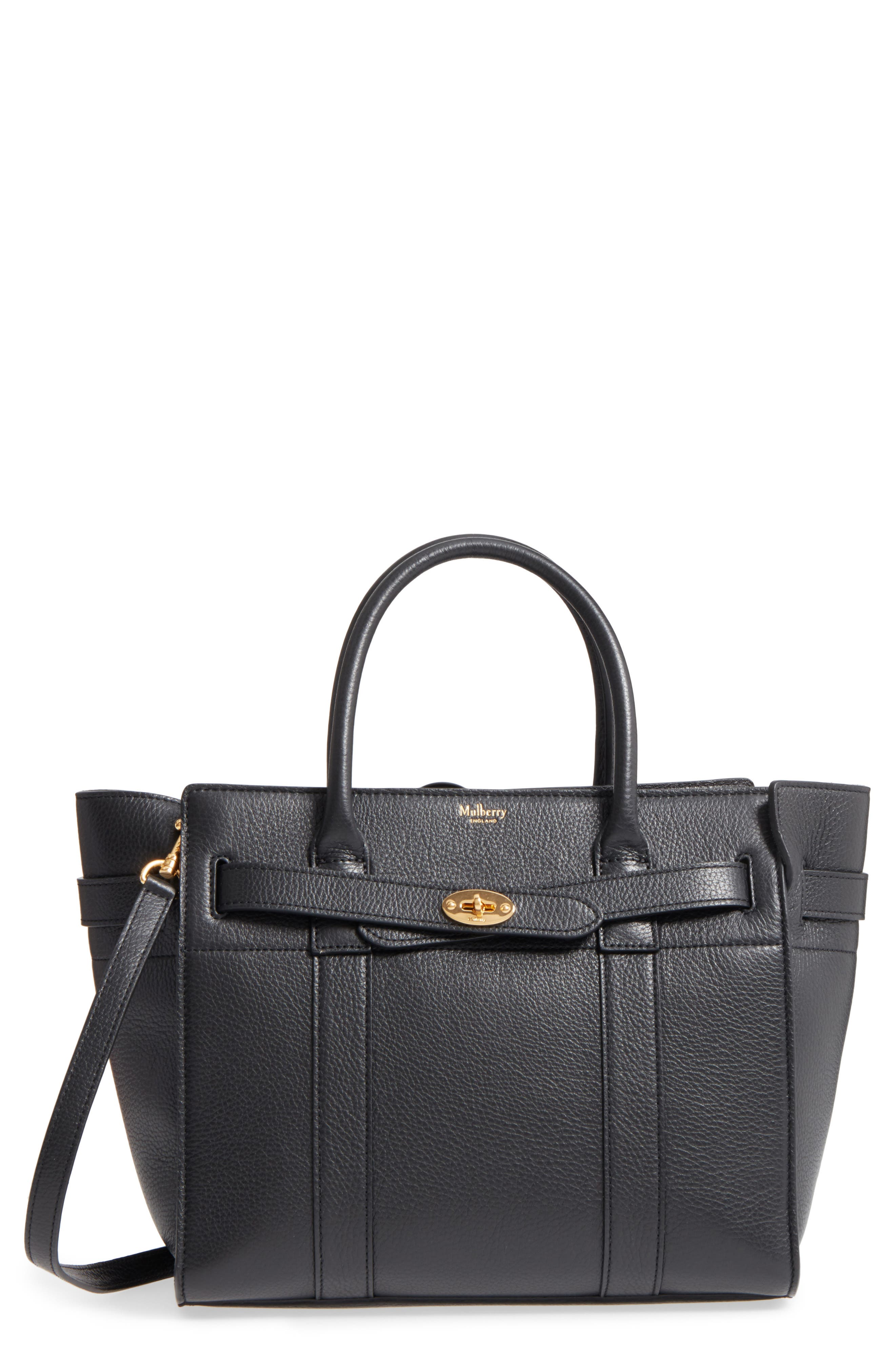 Small Zip Bayswater Classic Leather Tote,                             Main thumbnail 1, color,                             001