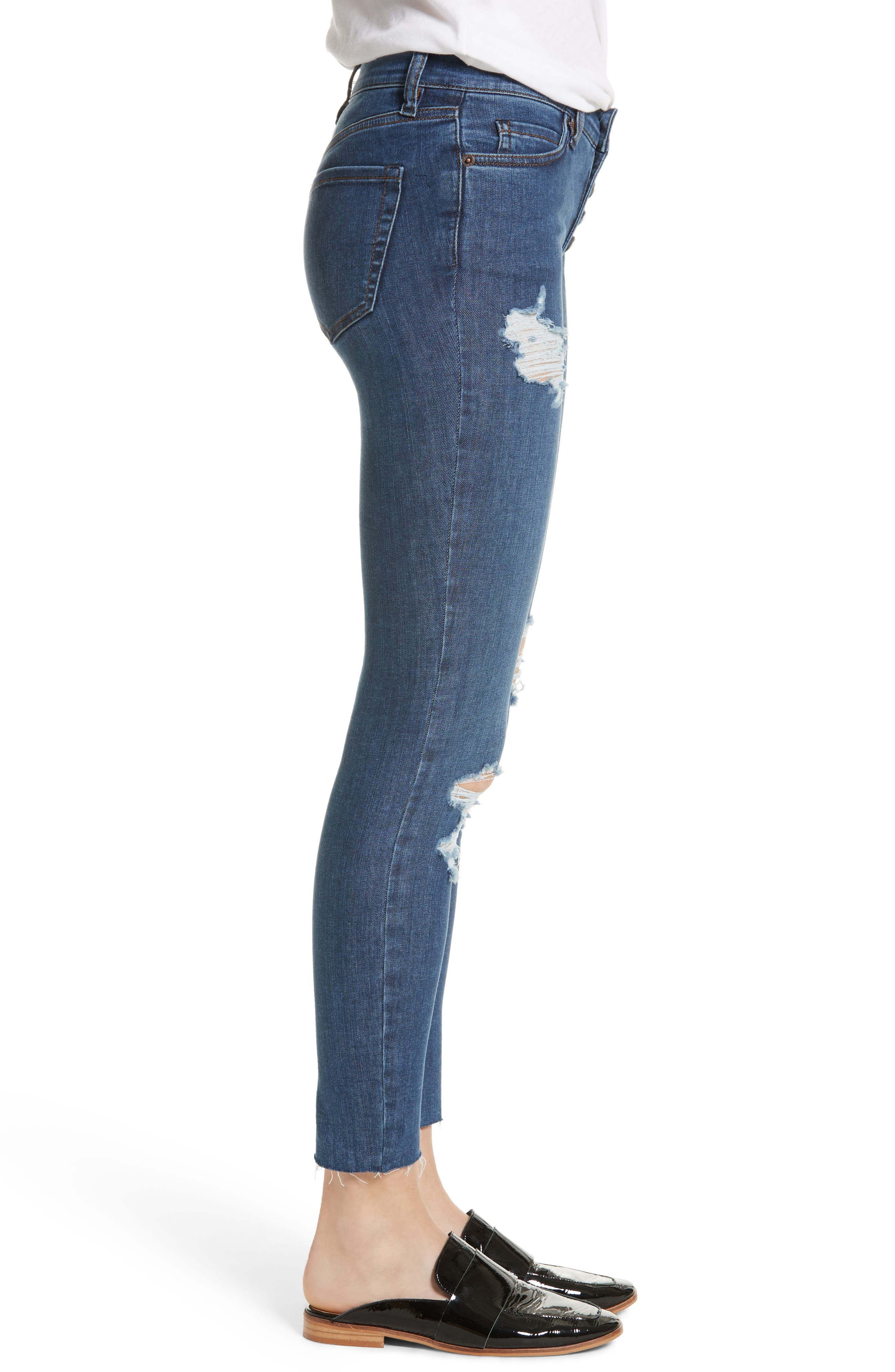We the Free by Free People Reagan Destroyed Crop Skinny Jeans,                             Alternate thumbnail 3, color,