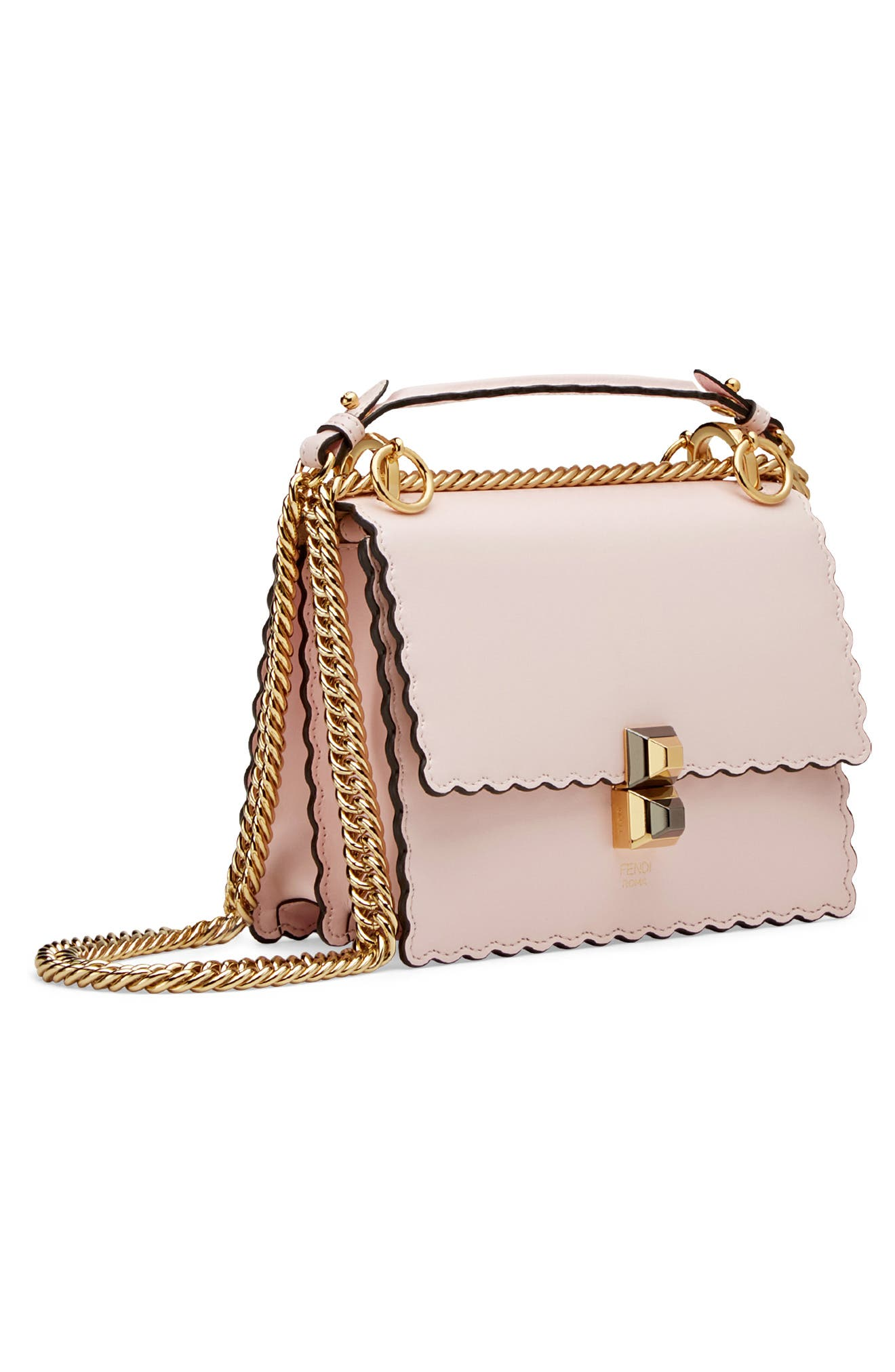 Mini Kan I Scalloped Leather Shoulder Bag,                             Alternate thumbnail 4, color,                             CONFETTO/ ORO SOFT