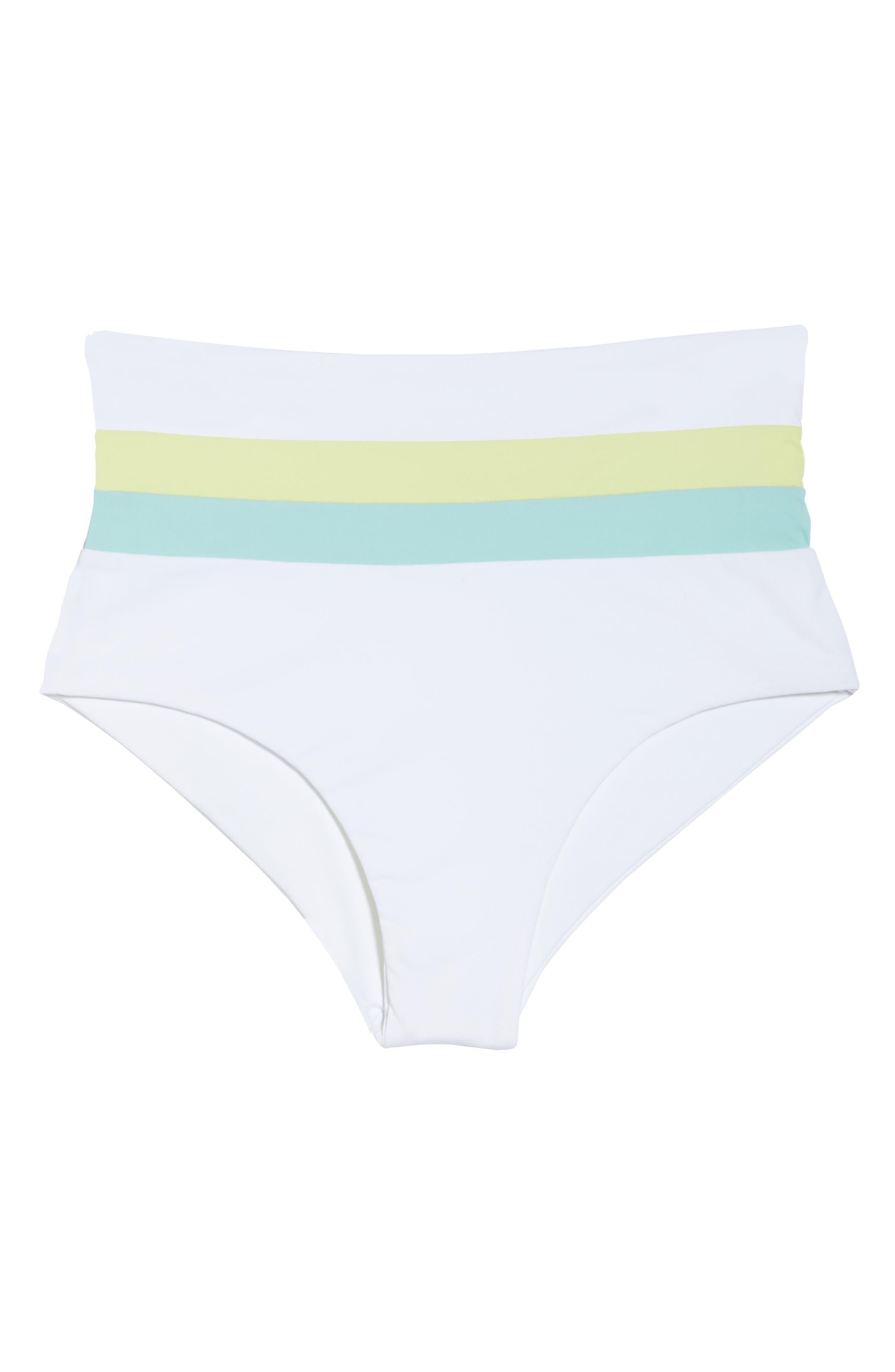 L SPACE,                             Portia Reversible High Waist Bikini Bottoms,                             Alternate thumbnail 7, color,                             WHITE/ LIGHT TURQ/ LEMONADE