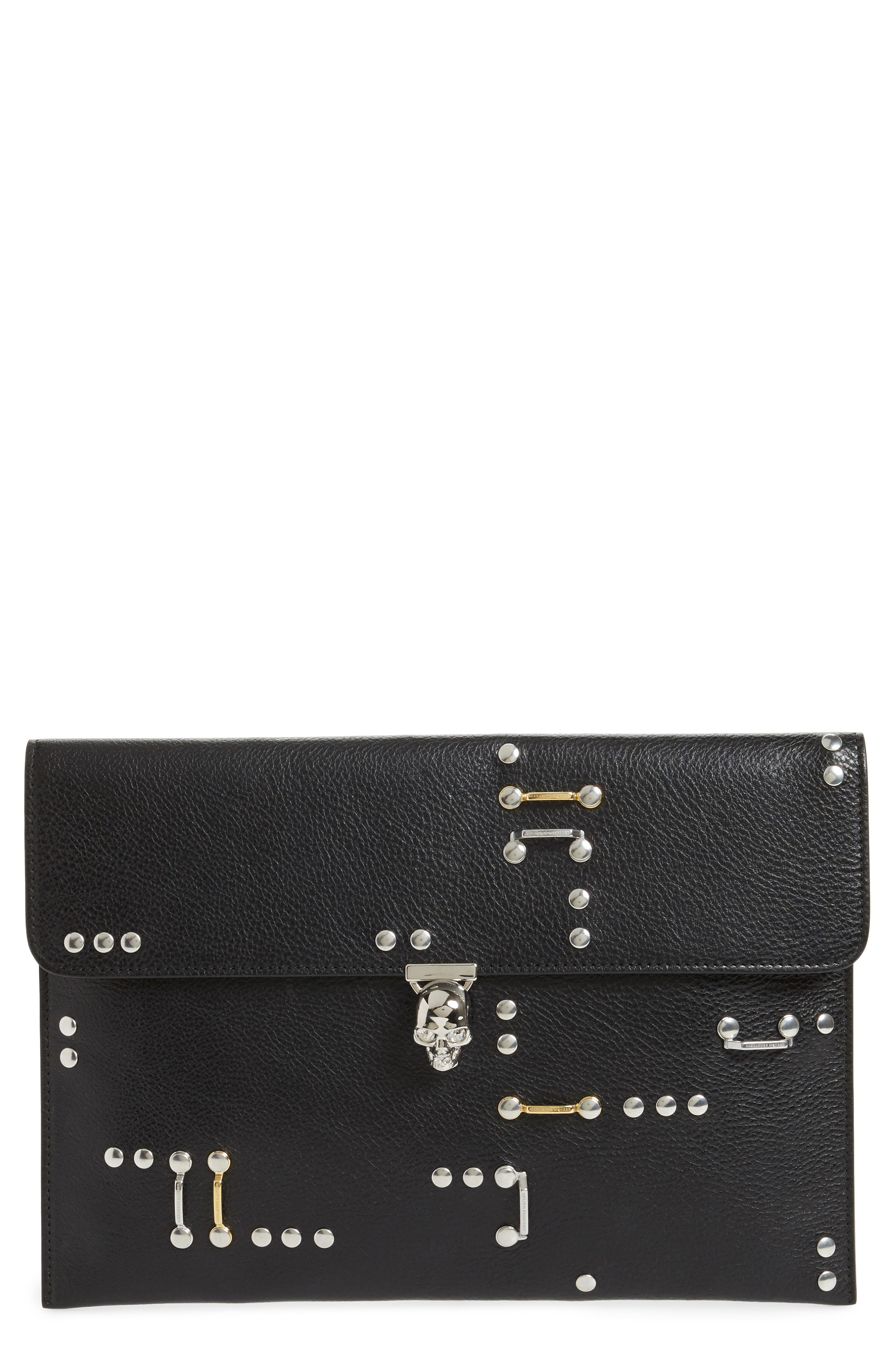 Studded Calfskin Leather Envelope Clutch,                             Main thumbnail 1, color,