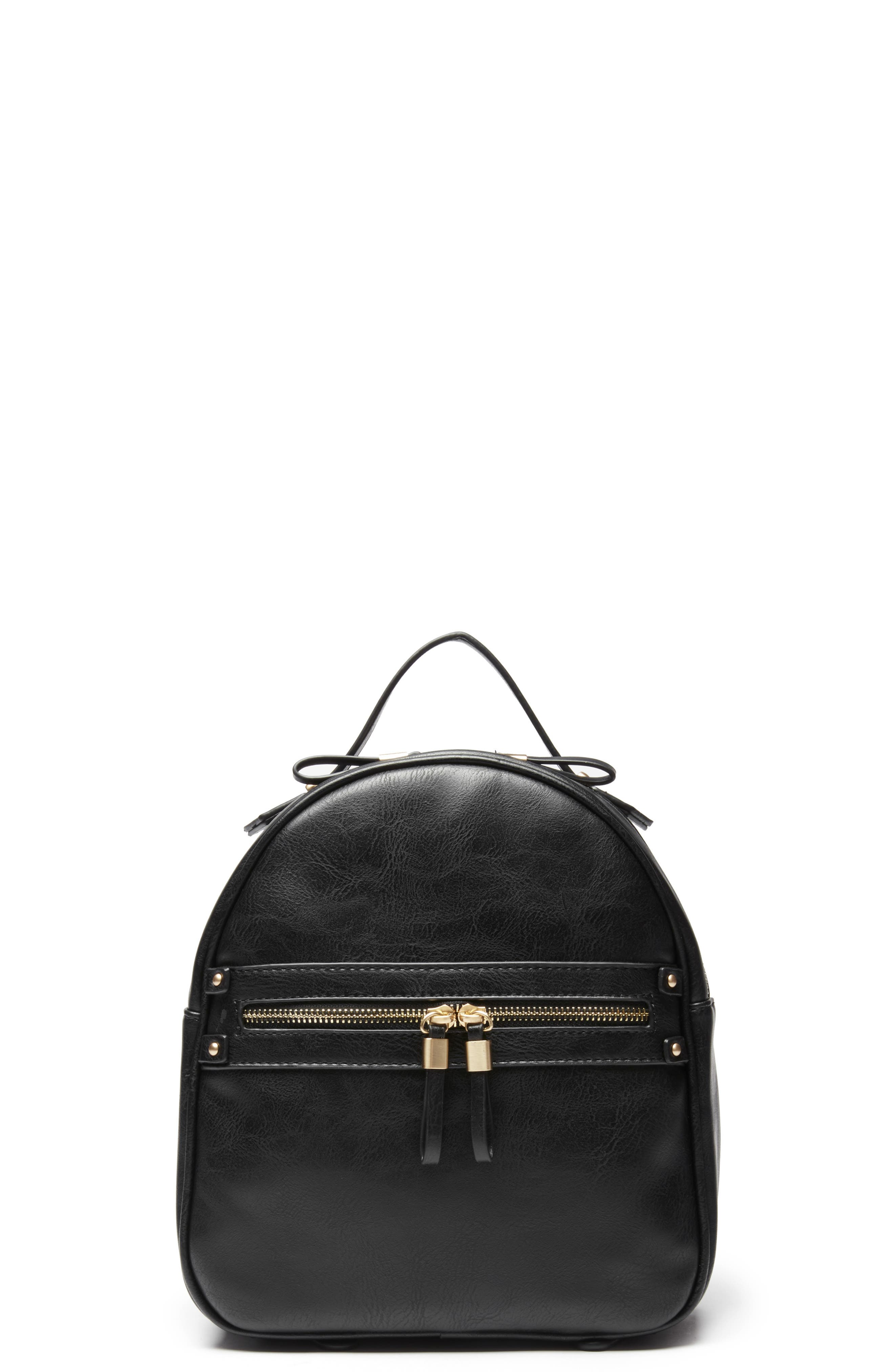 Zypa Faux Leather Backpack,                             Main thumbnail 1, color,                             BLACK