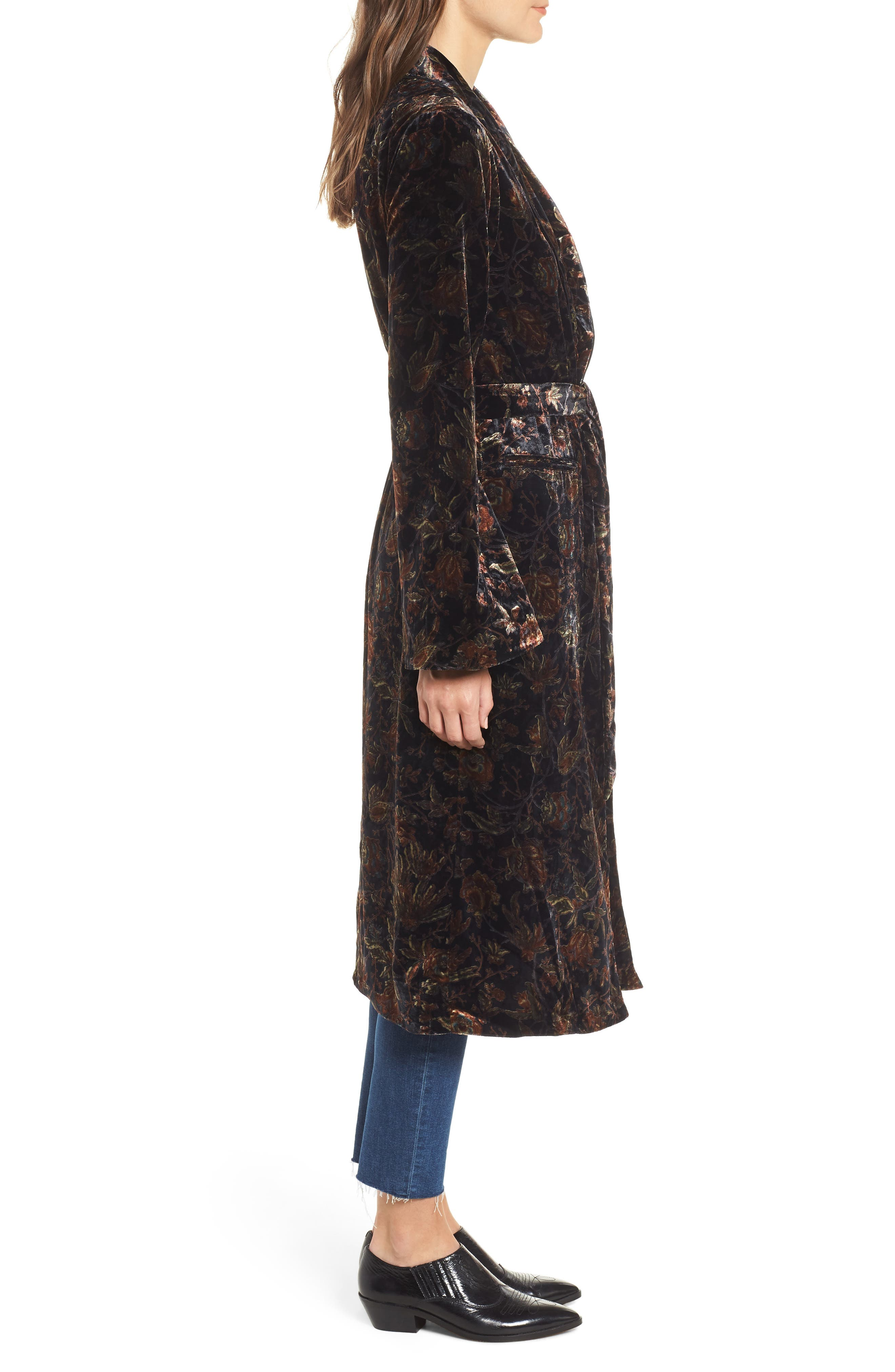 Chrystin Velvet Robe,                             Alternate thumbnail 3, color,                             BLACK / GOLDEN SKY