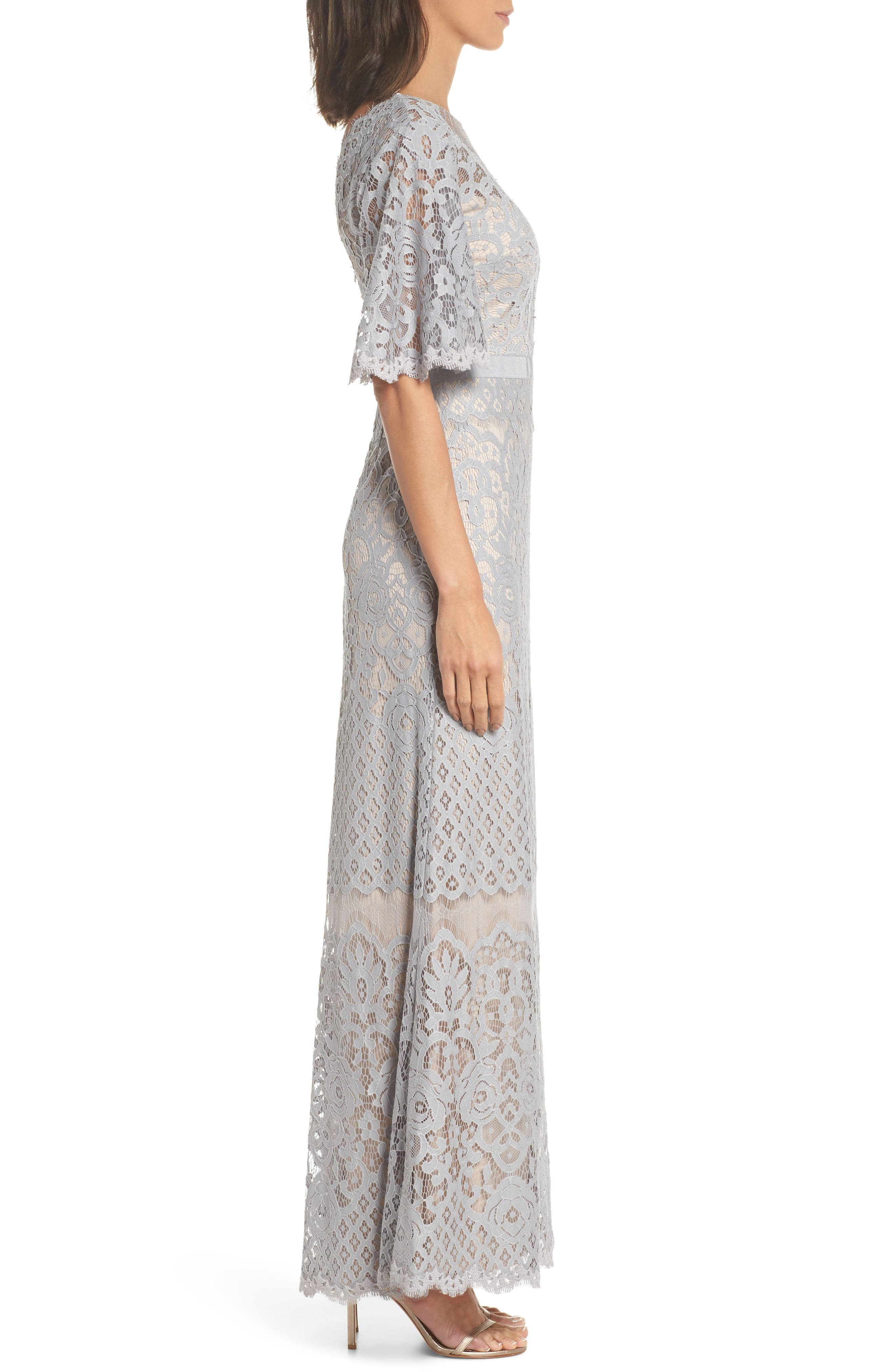 Malina Flutter Sleeve Lace Gown,                             Alternate thumbnail 3, color,                             020