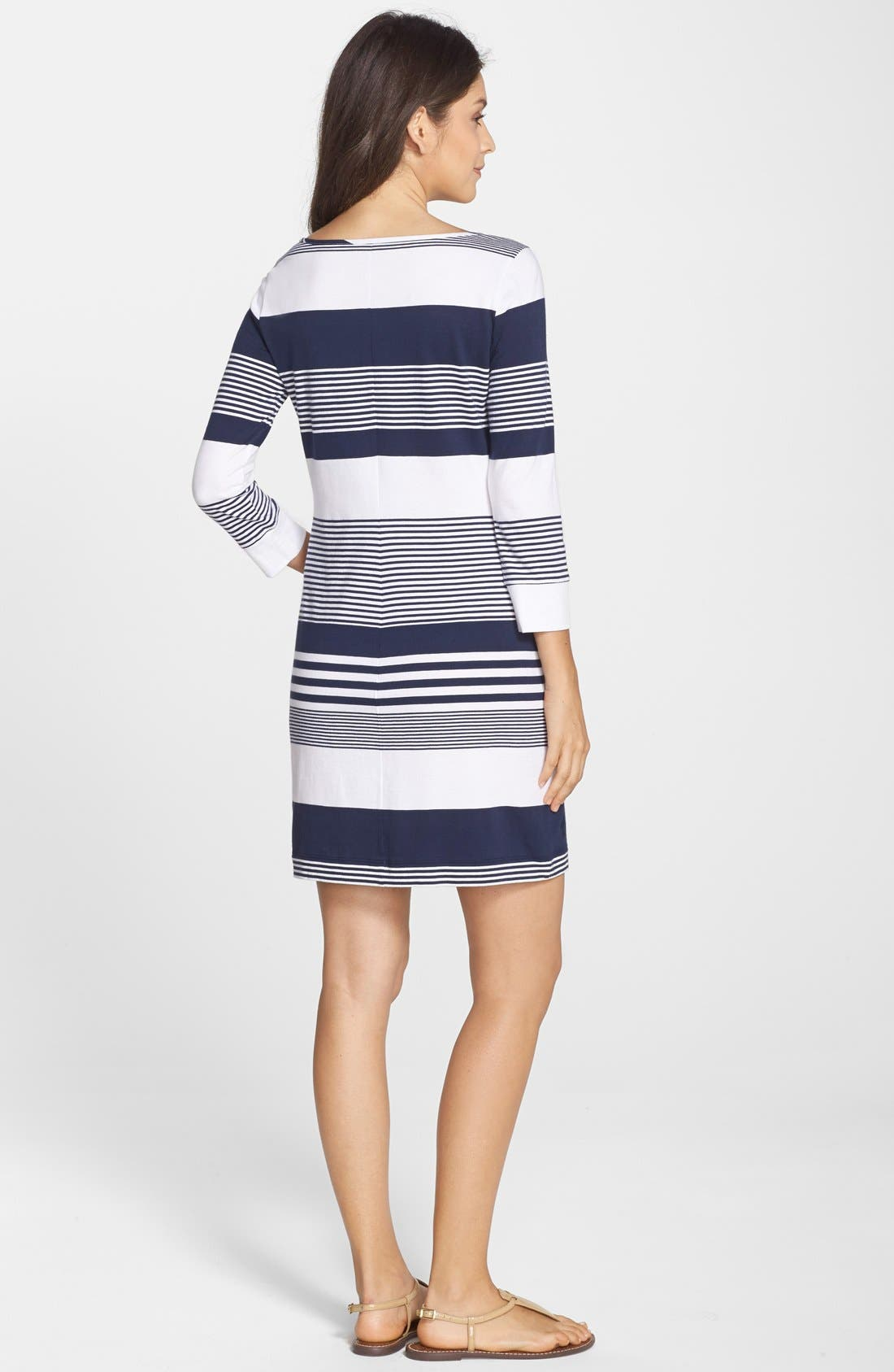 Marlowe Stripe Pima Cotton Shift Dress,                             Alternate thumbnail 6, color,                             408