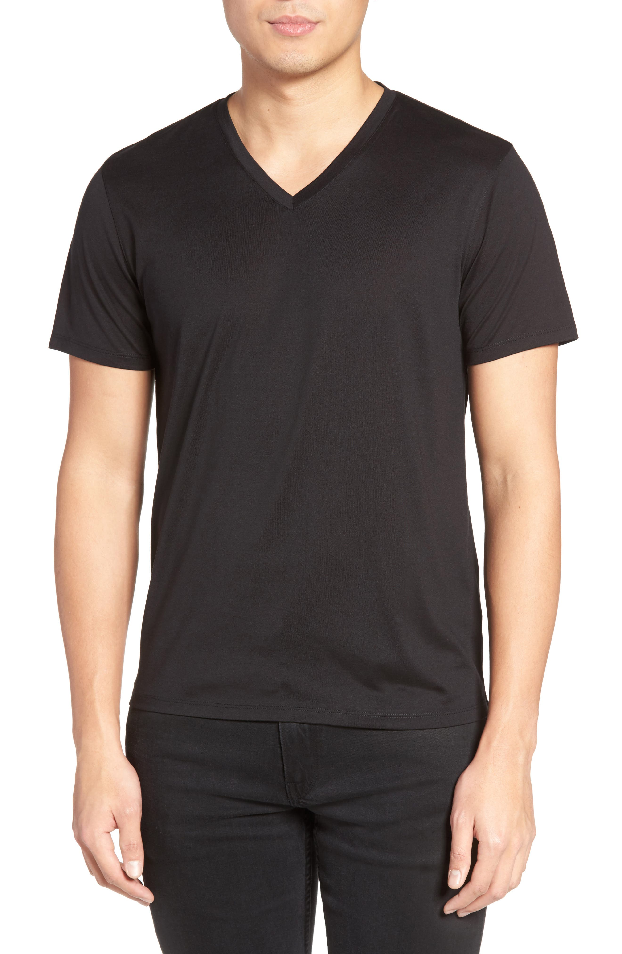 Silk & Cotton V-Neck T-Shirt,                             Main thumbnail 1, color,                             001