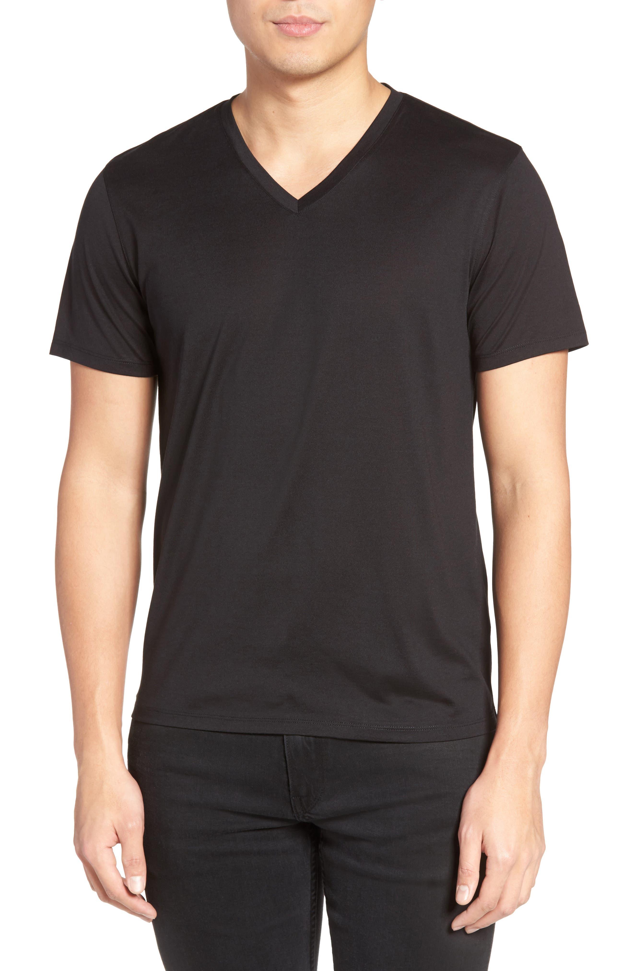 Silk & Cotton V-Neck T-Shirt,                         Main,                         color, 001