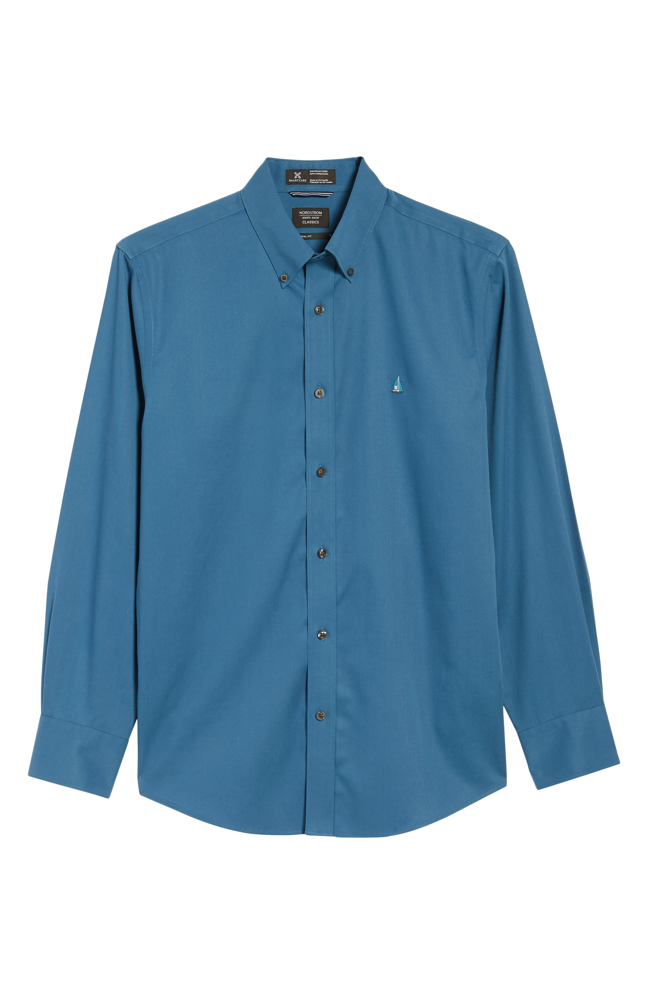 Smartcare<sup>™</sup> Traditional Fit Twill Boat Shirt,                             Alternate thumbnail 6, color,                             BLUE DARK