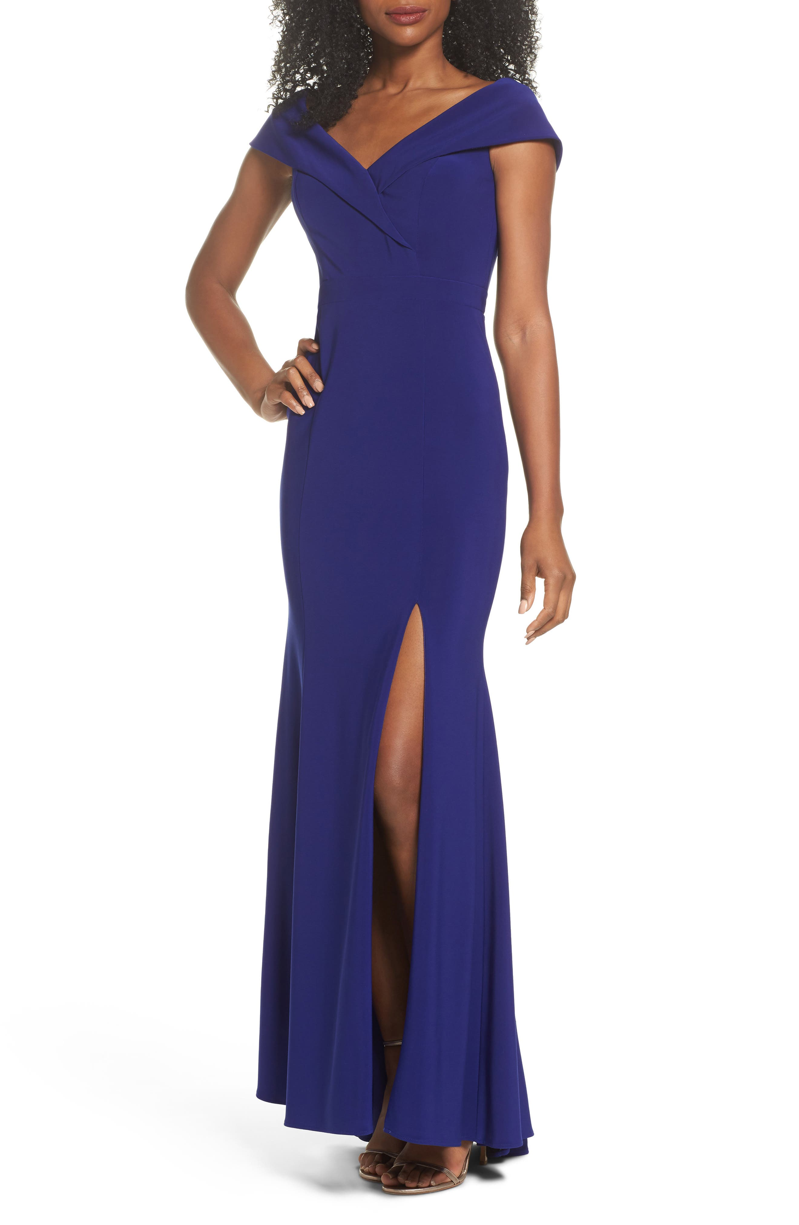 Off the Shoulder Gown,                             Main thumbnail 1, color,                             ELECTRIC BLUE