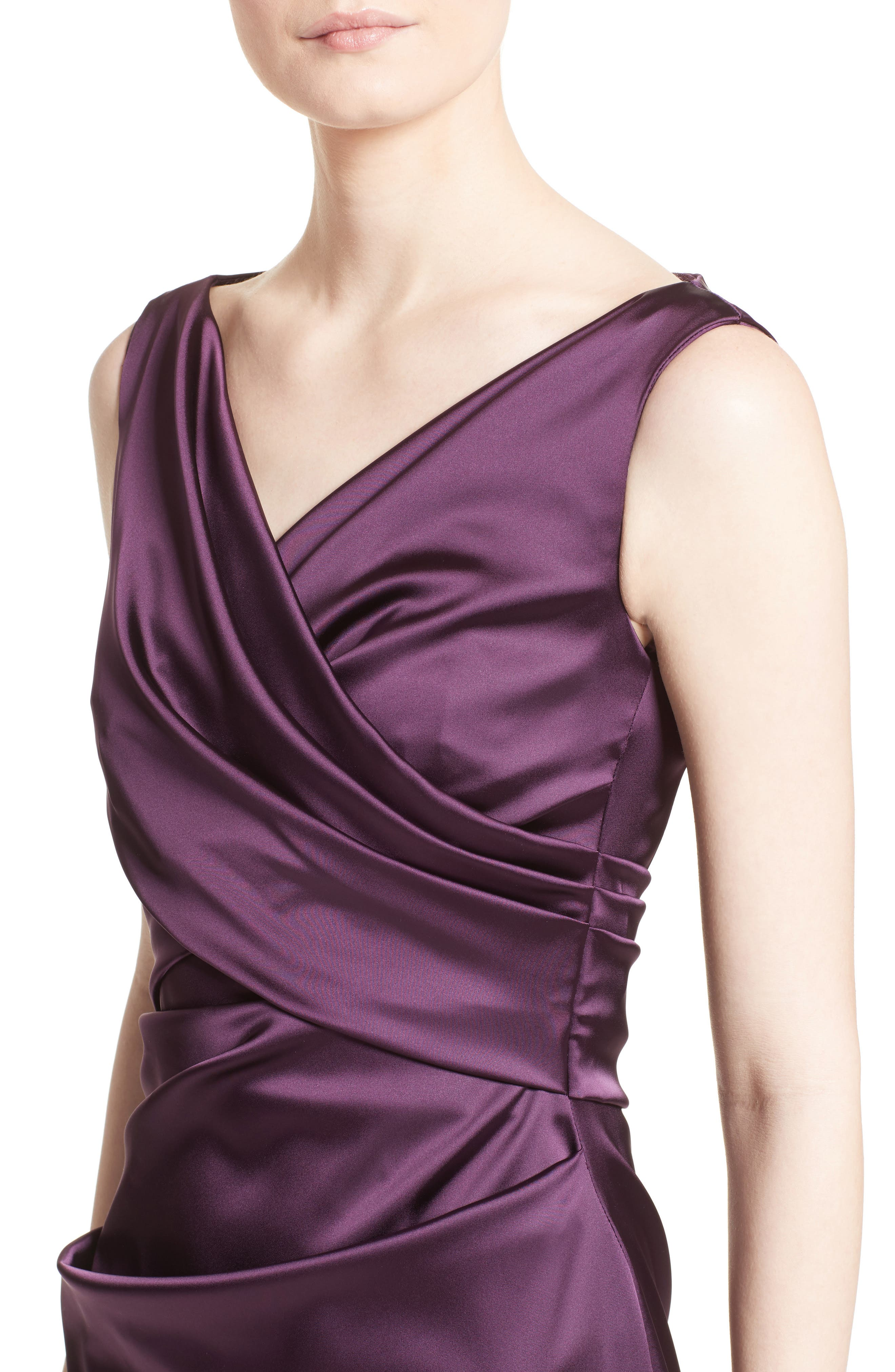 V-Neck Ruched Stretch Satin Column Gown,                             Alternate thumbnail 8, color,