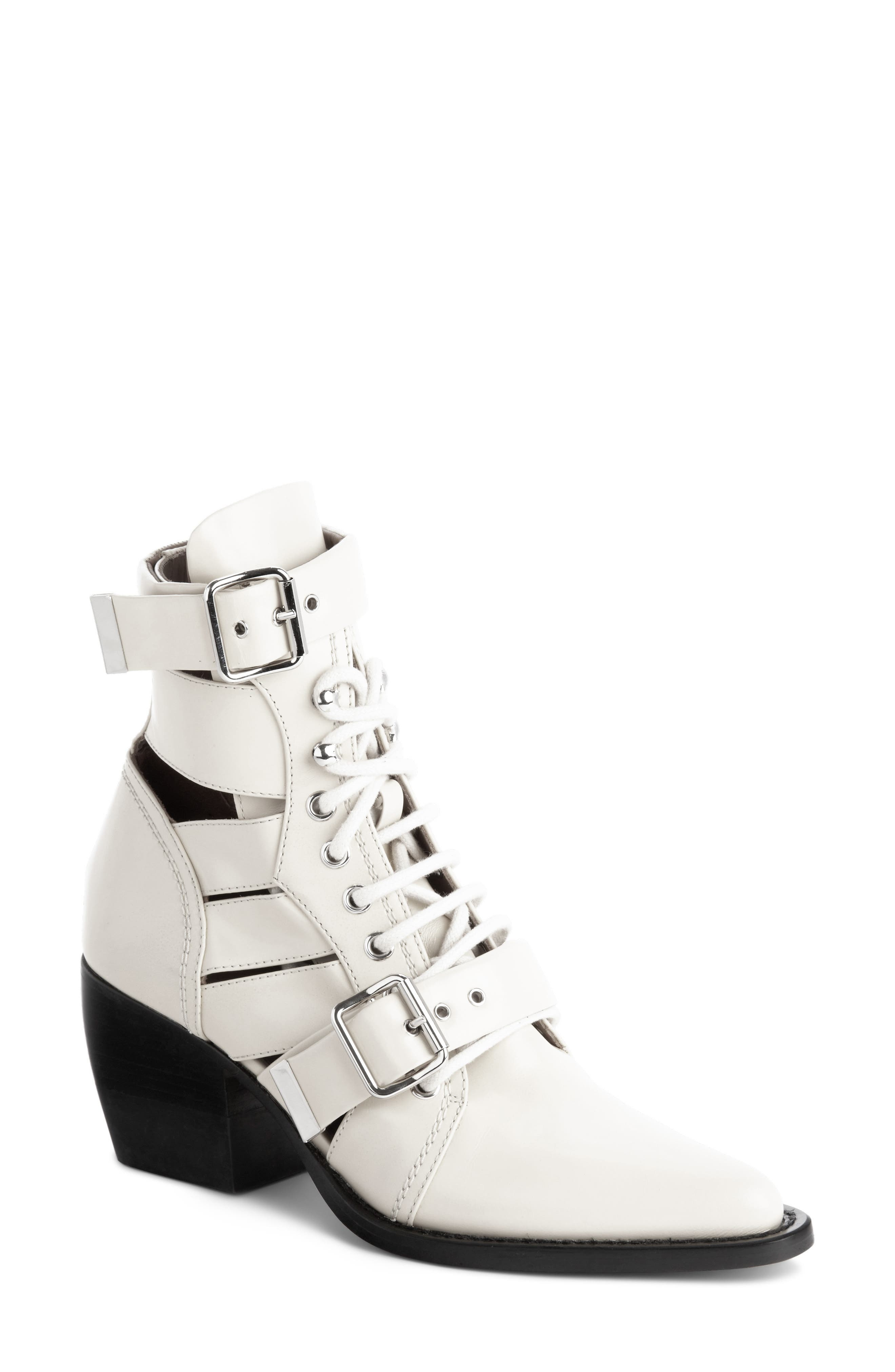CHLOÉ,                             Rylee Caged Pointy Toe Boot,                             Main thumbnail 1, color,                             WHITE