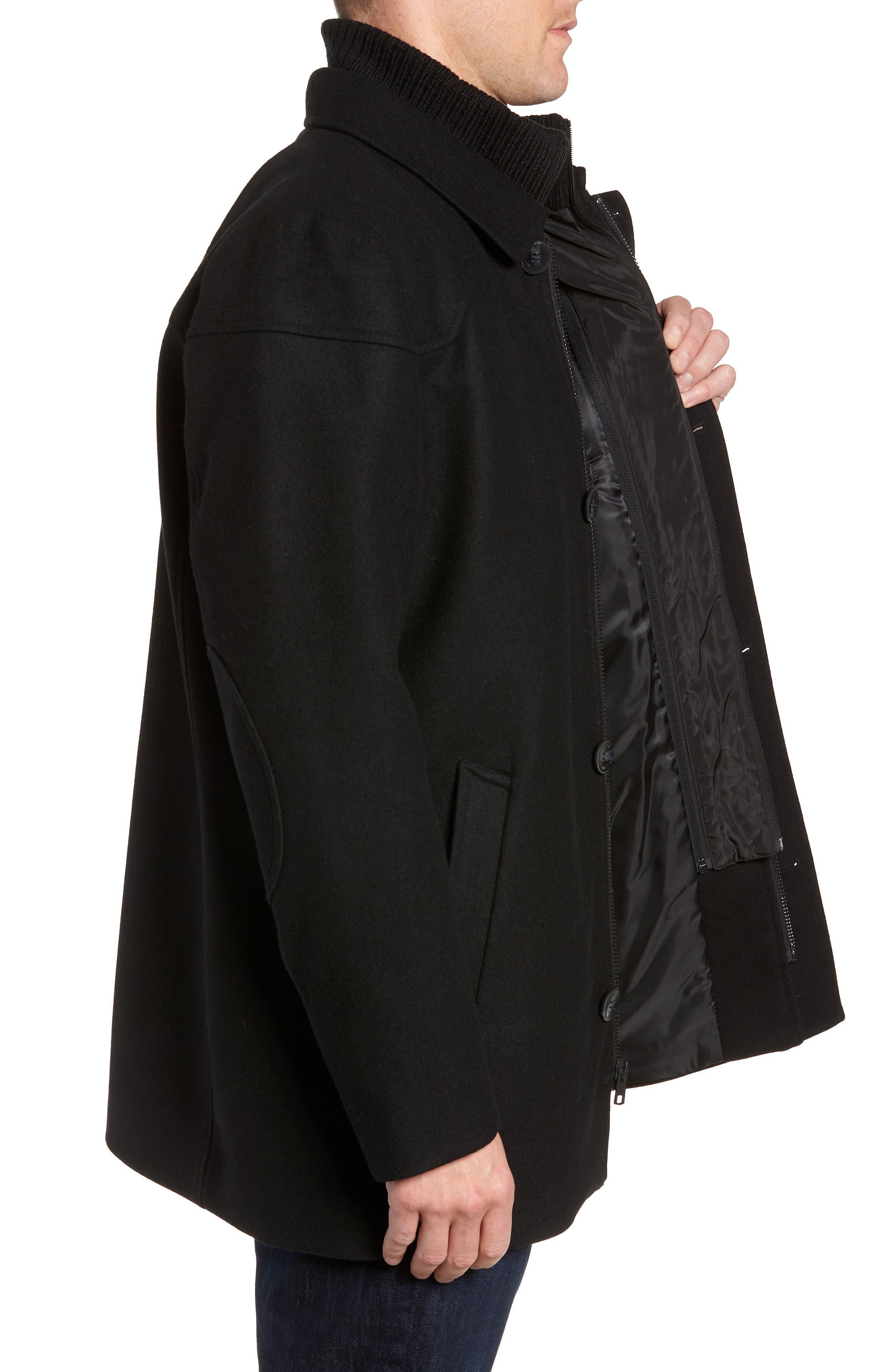 Melton Car Coat with Removable Bib,                             Alternate thumbnail 4, color,                             BLACK
