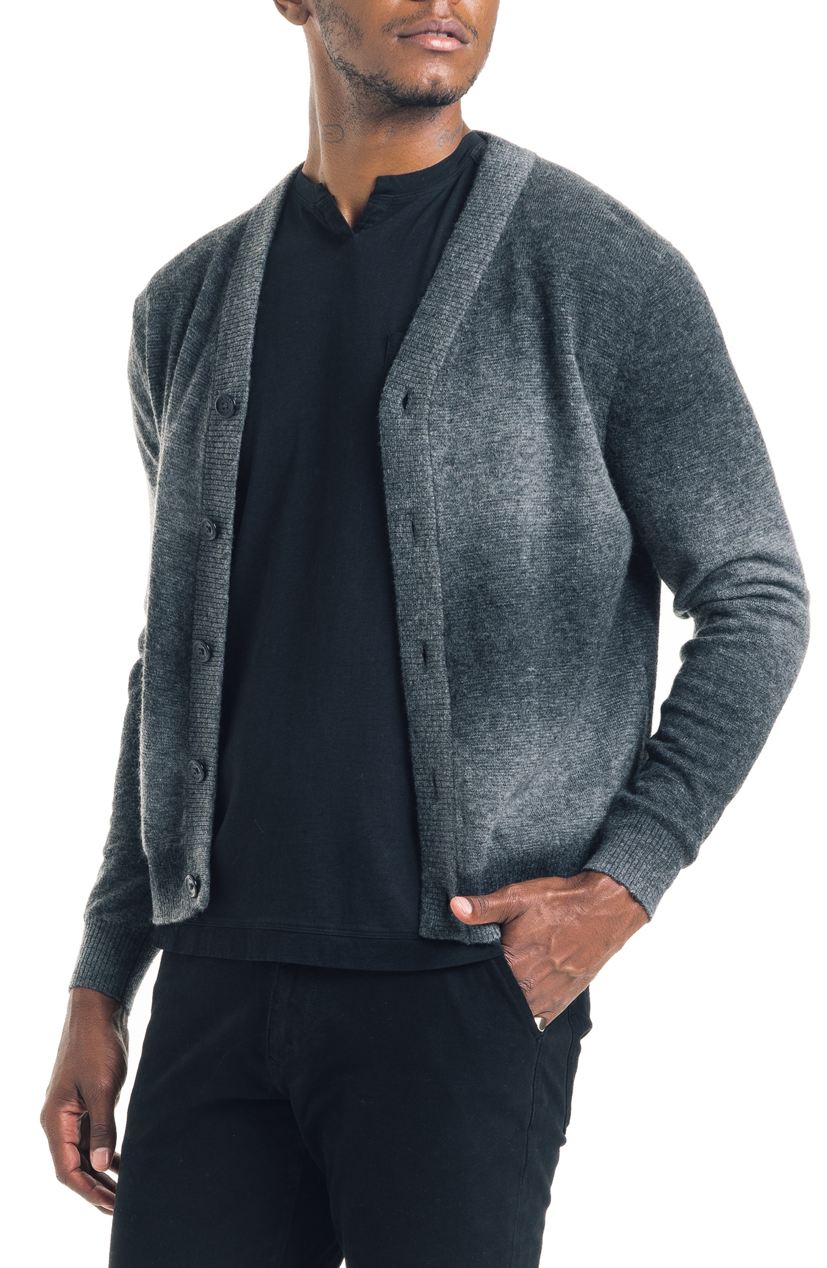 Modern Slim Fit Merino Wool Blend Cardigan,                             Main thumbnail 1, color,                             BLACK / GREY