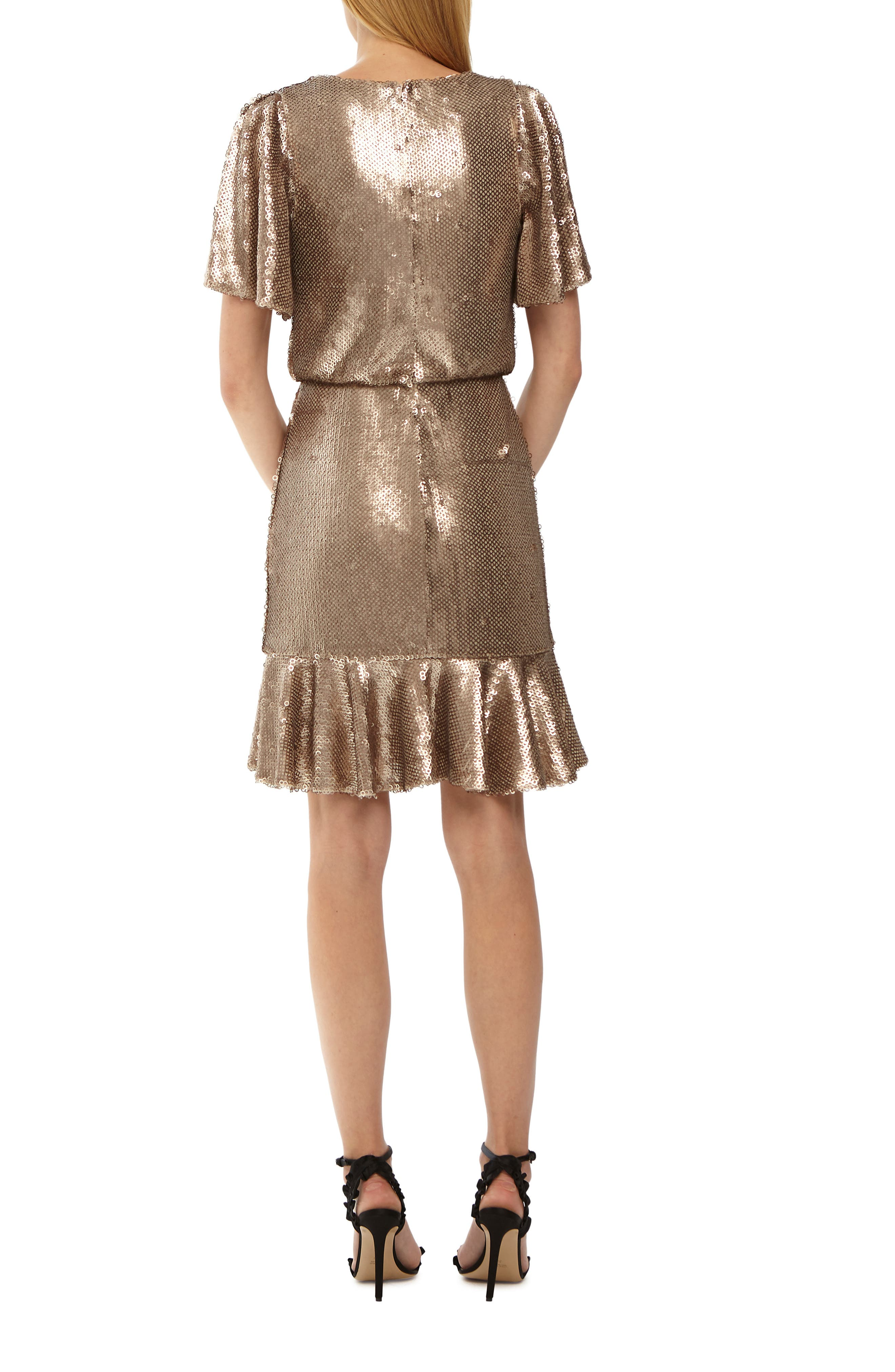 Sequin Cocktail Dress,                             Alternate thumbnail 2, color,                             GOLD