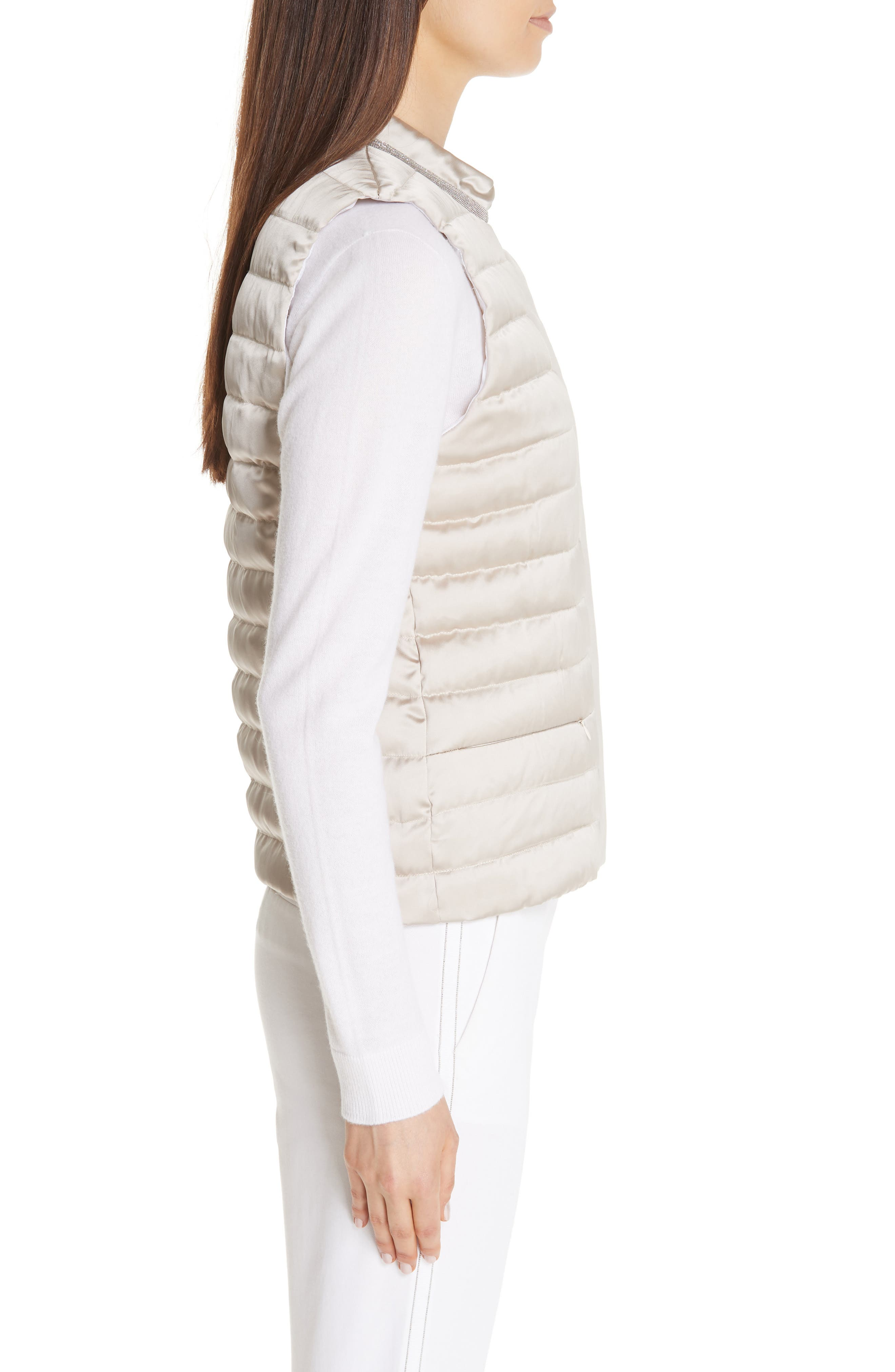 Quilted Satin Vest Front,                             Alternate thumbnail 3, color,                             CHAMPAGNE