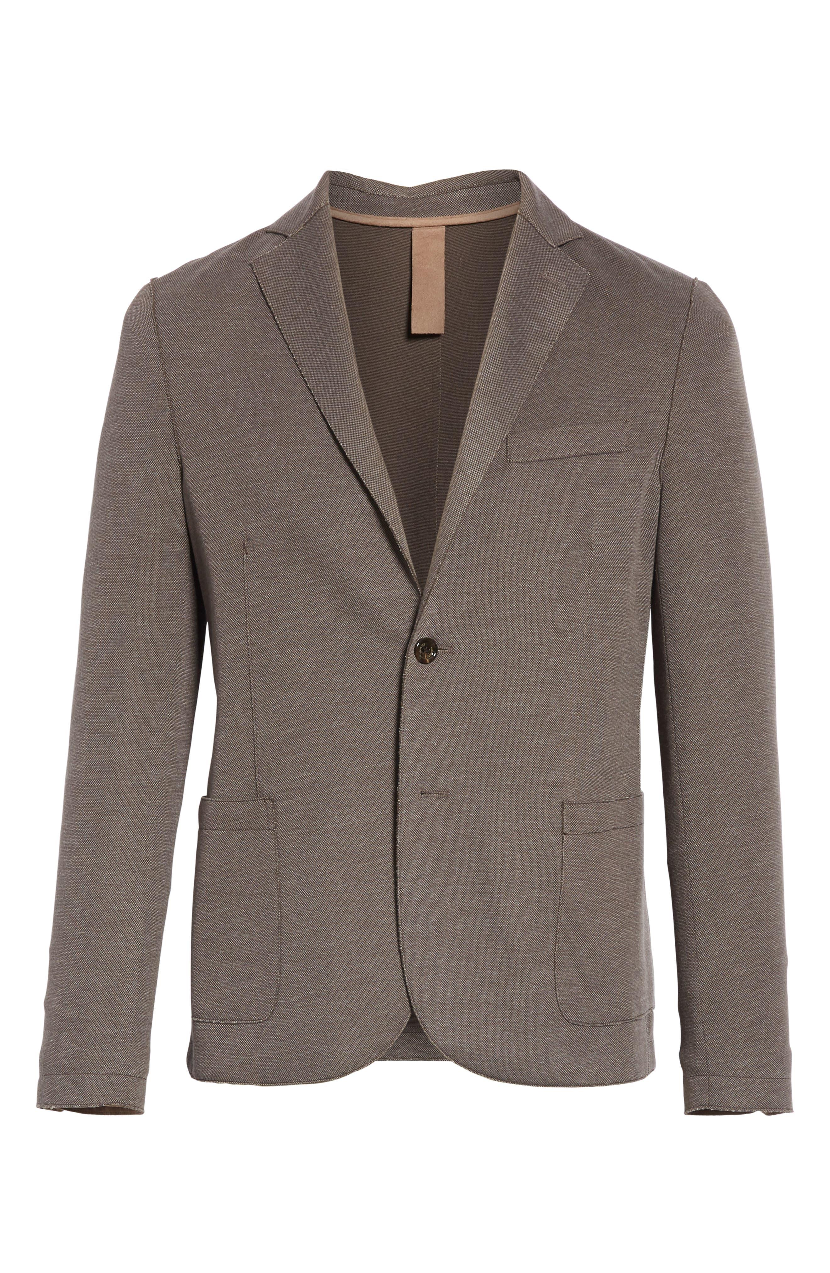 ELEVENTY,                             Trim Fit Jersey Sport Coat,                             Alternate thumbnail 5, color,                             BROWN