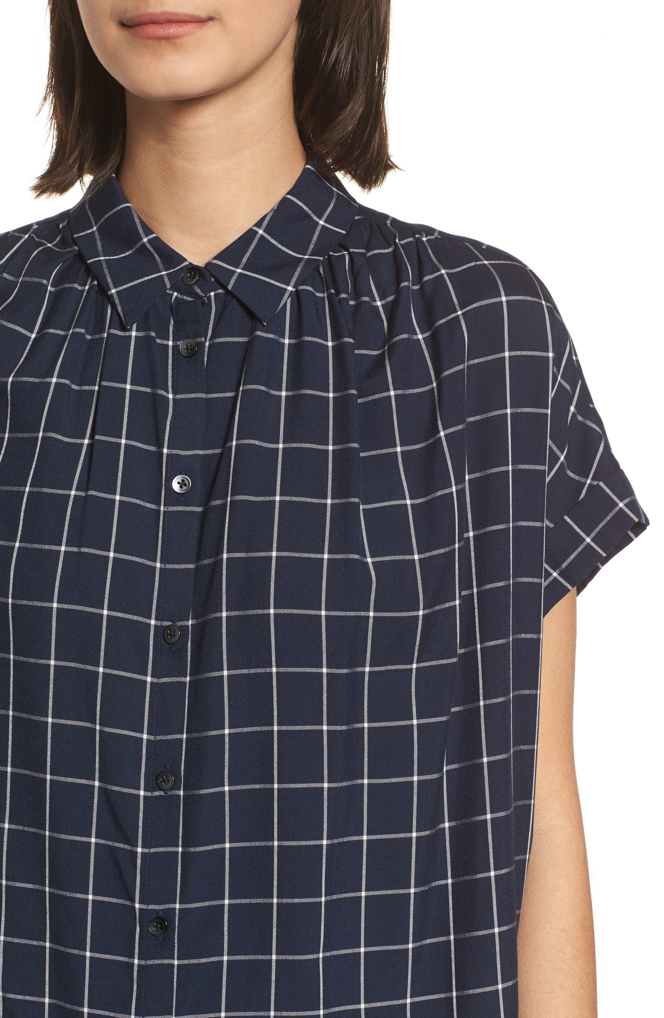 Central Windowpane Check Shirt,                             Alternate thumbnail 4, color,                             490