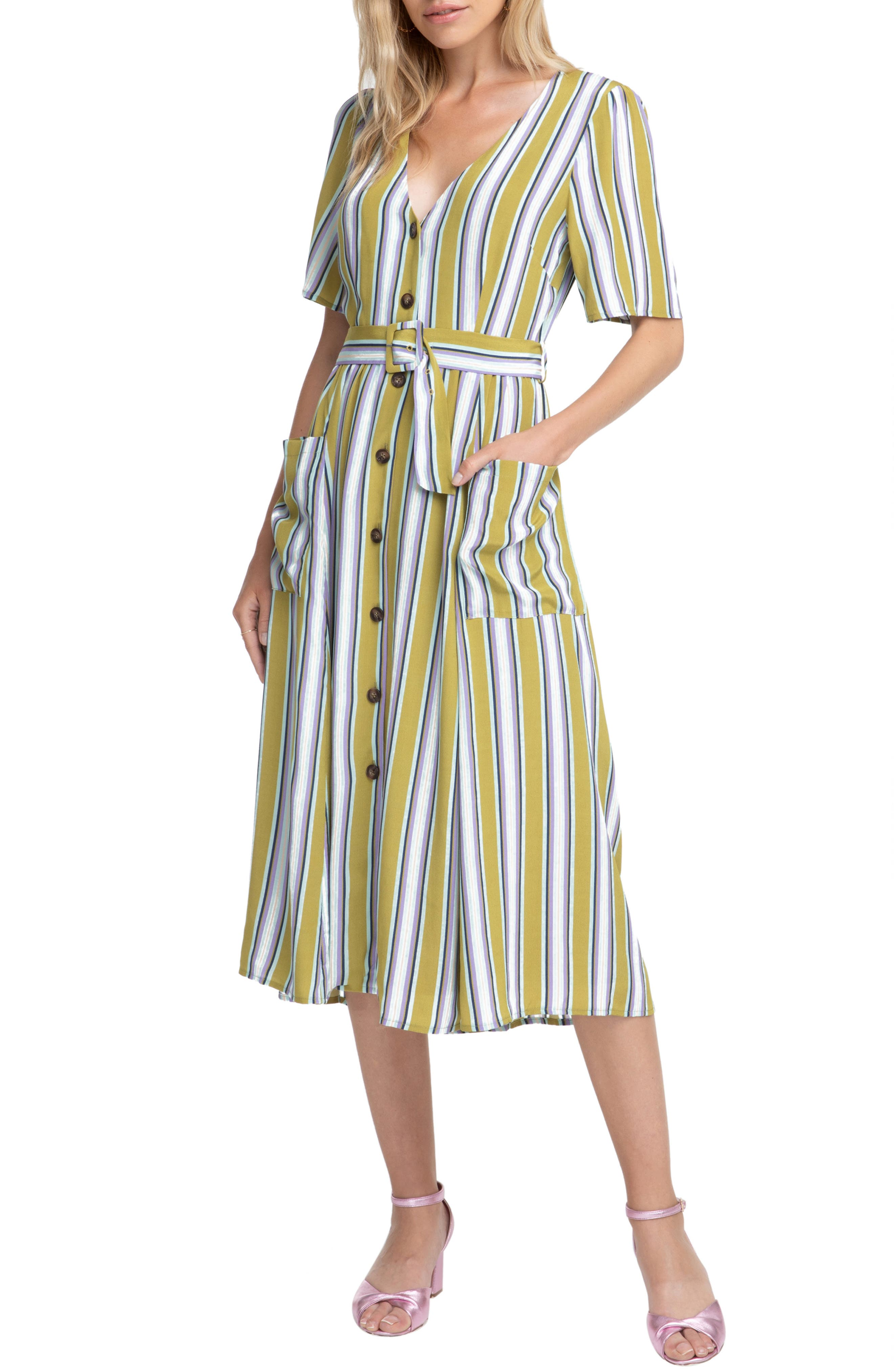 Astr The Label Scout Stripe Dress, Green
