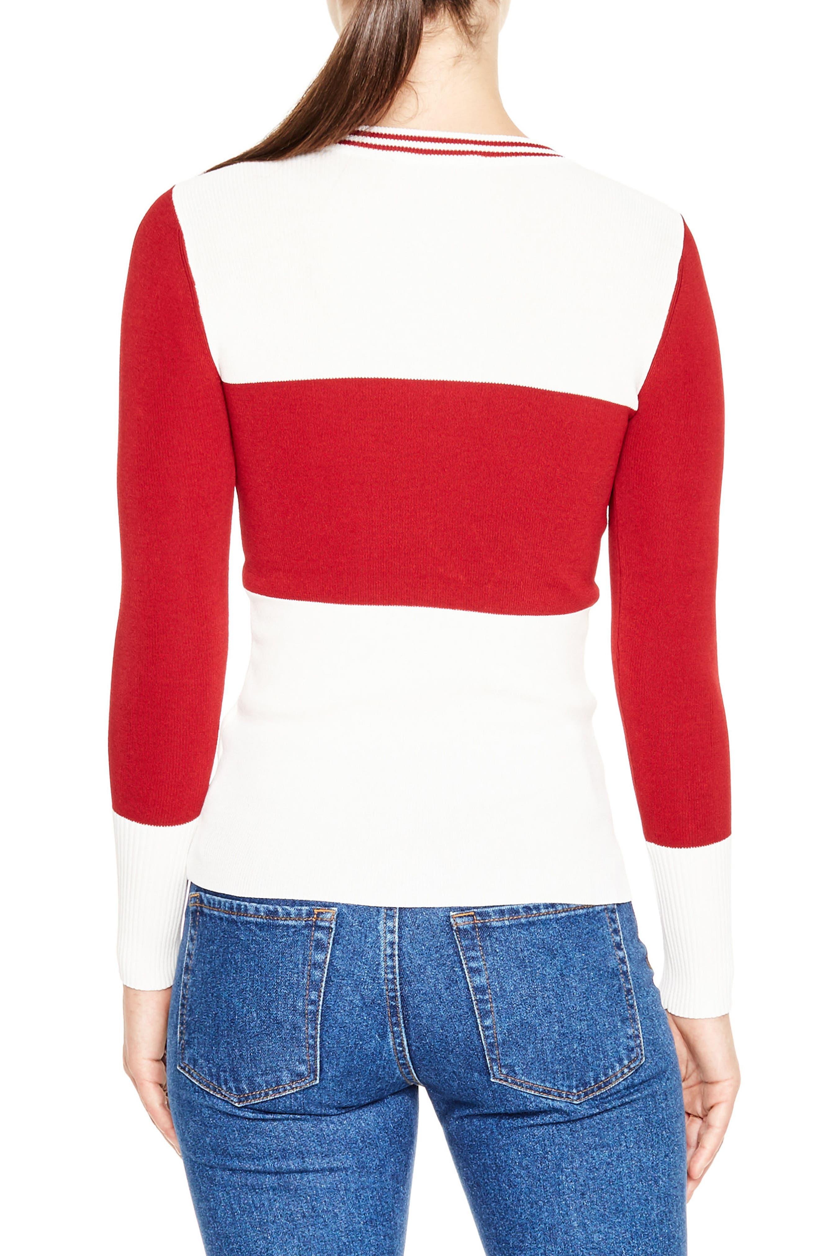 Colorblock Half Zip Sweater,                             Alternate thumbnail 2, color,                             100