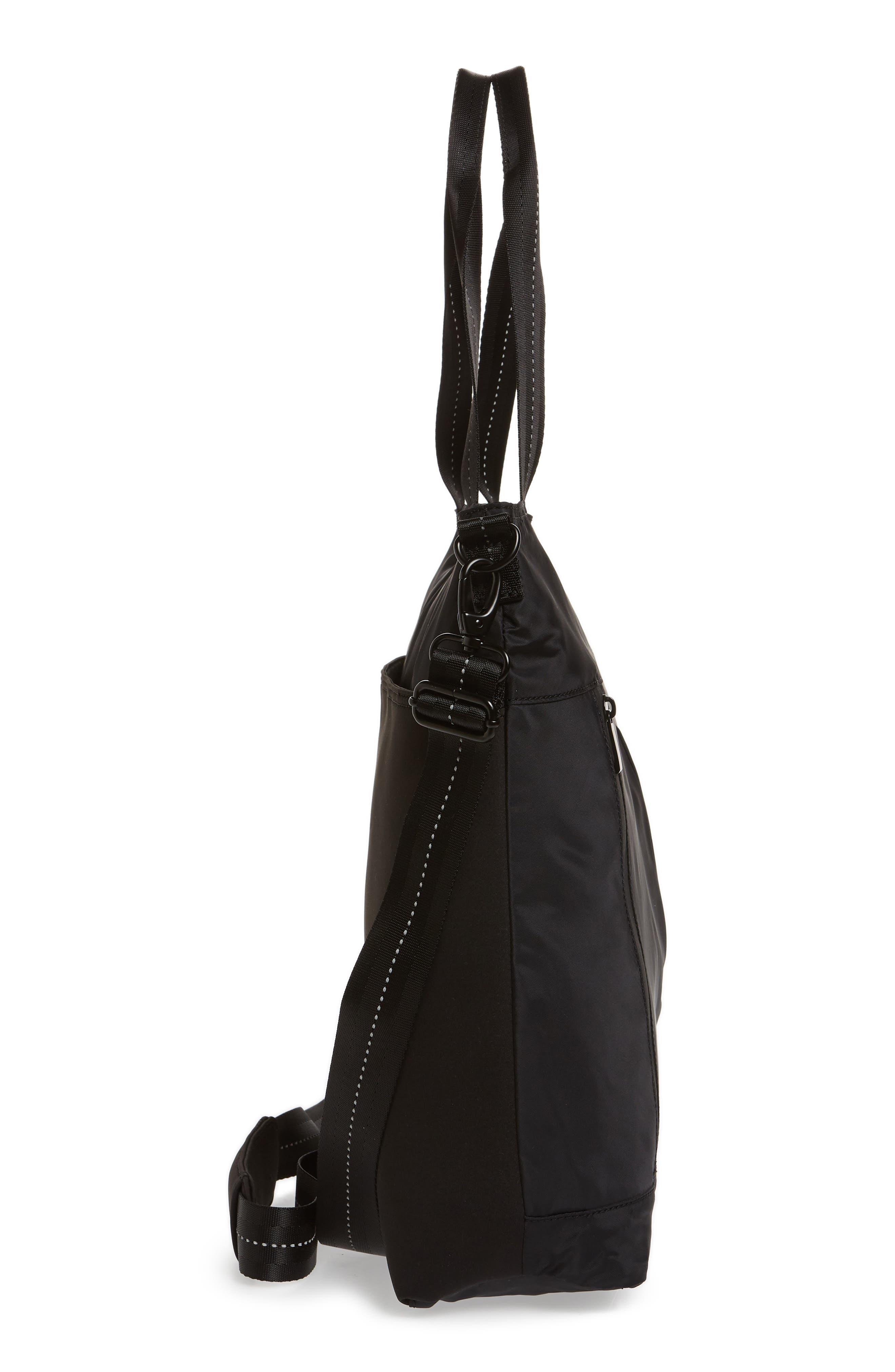 ZELLA,                             Reflective Nylon Tote Bag,                             Alternate thumbnail 5, color,                             BLACK