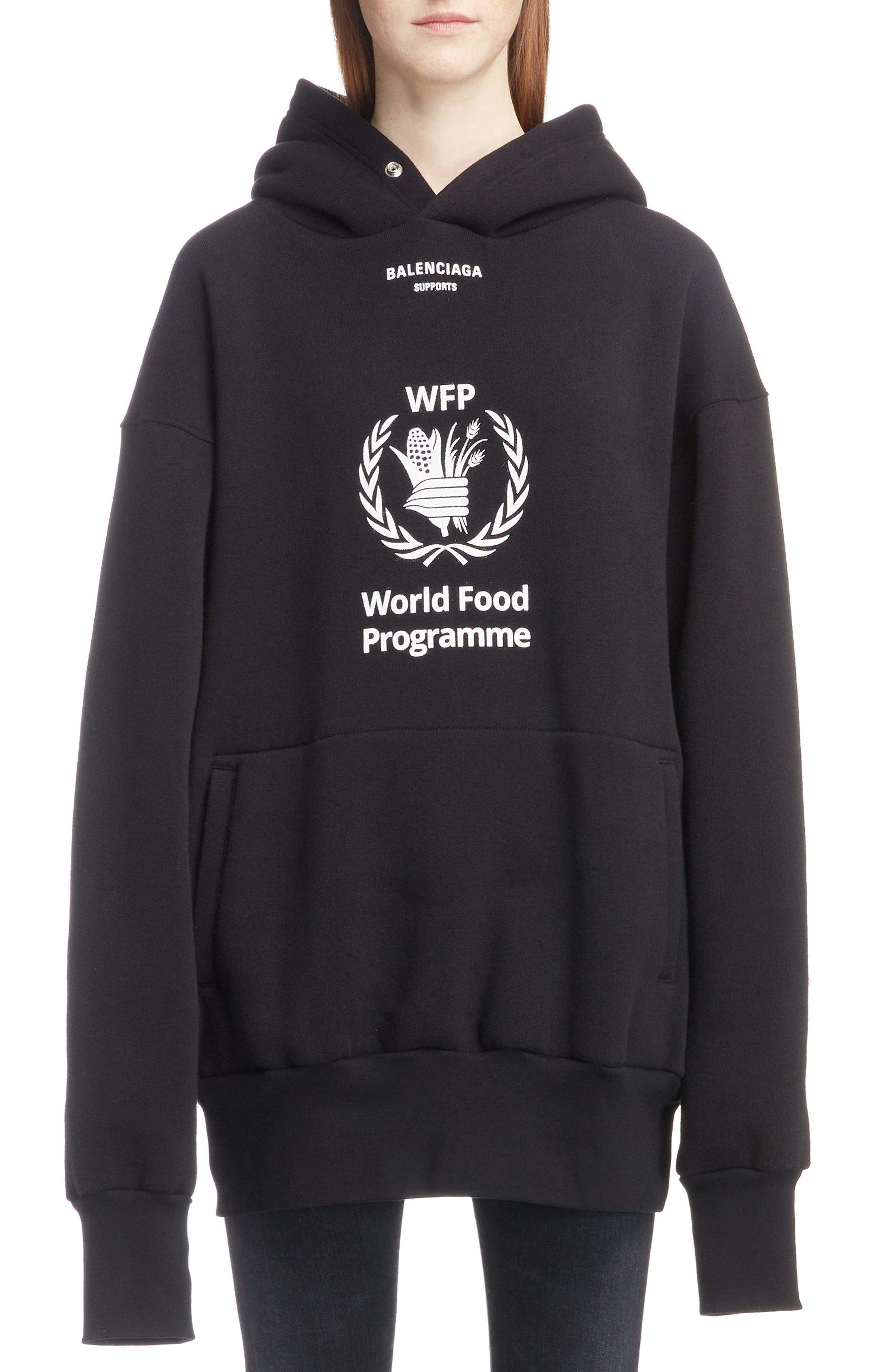 World Food Programme Oversize Brushed Felt Hoodie,                         Main,                         color, 1070-BLACK/ WHITE