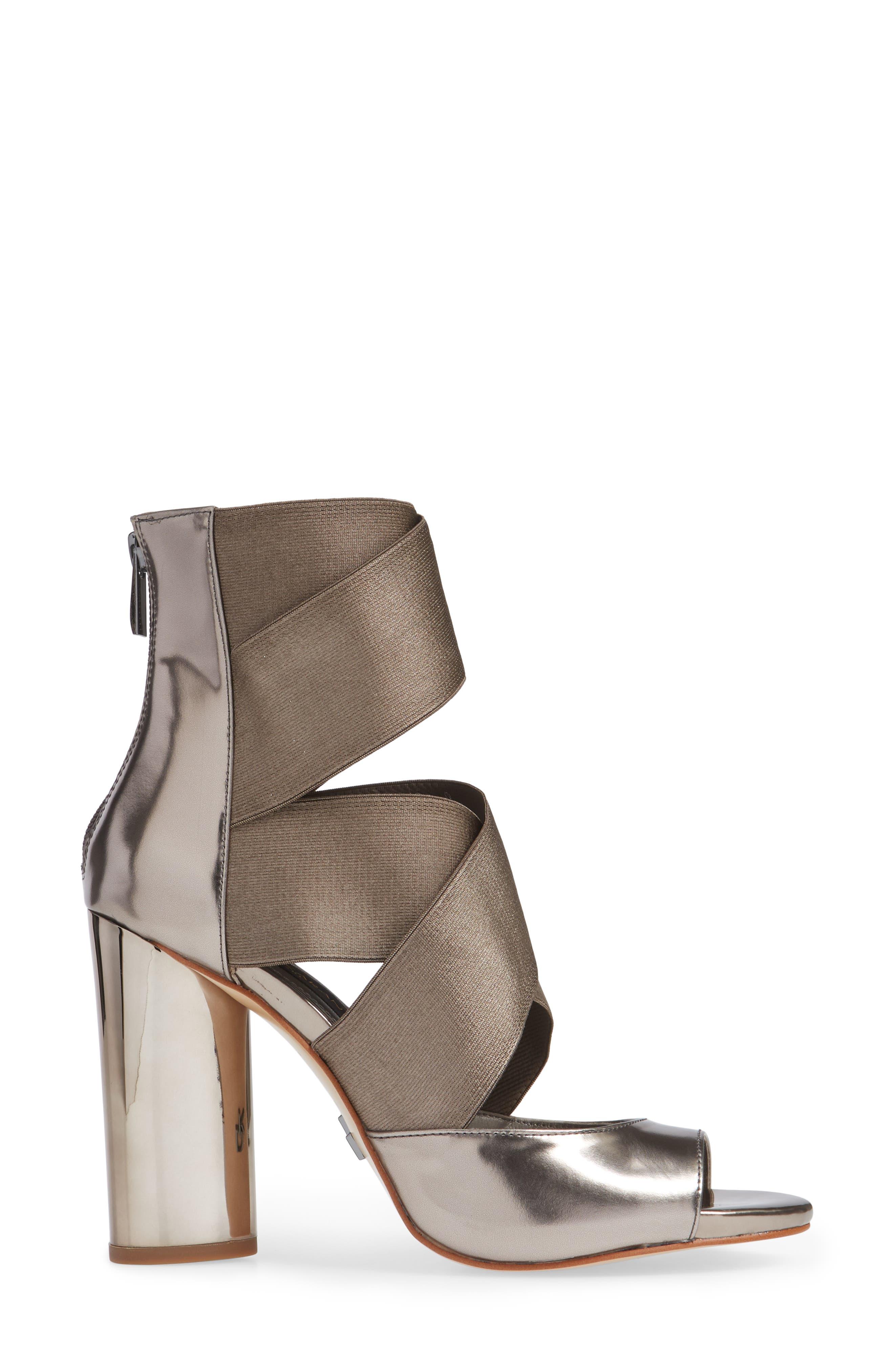 Donna Karan Briana Strappy High Sandal,                             Alternate thumbnail 3, color,                             DARK PEWTER