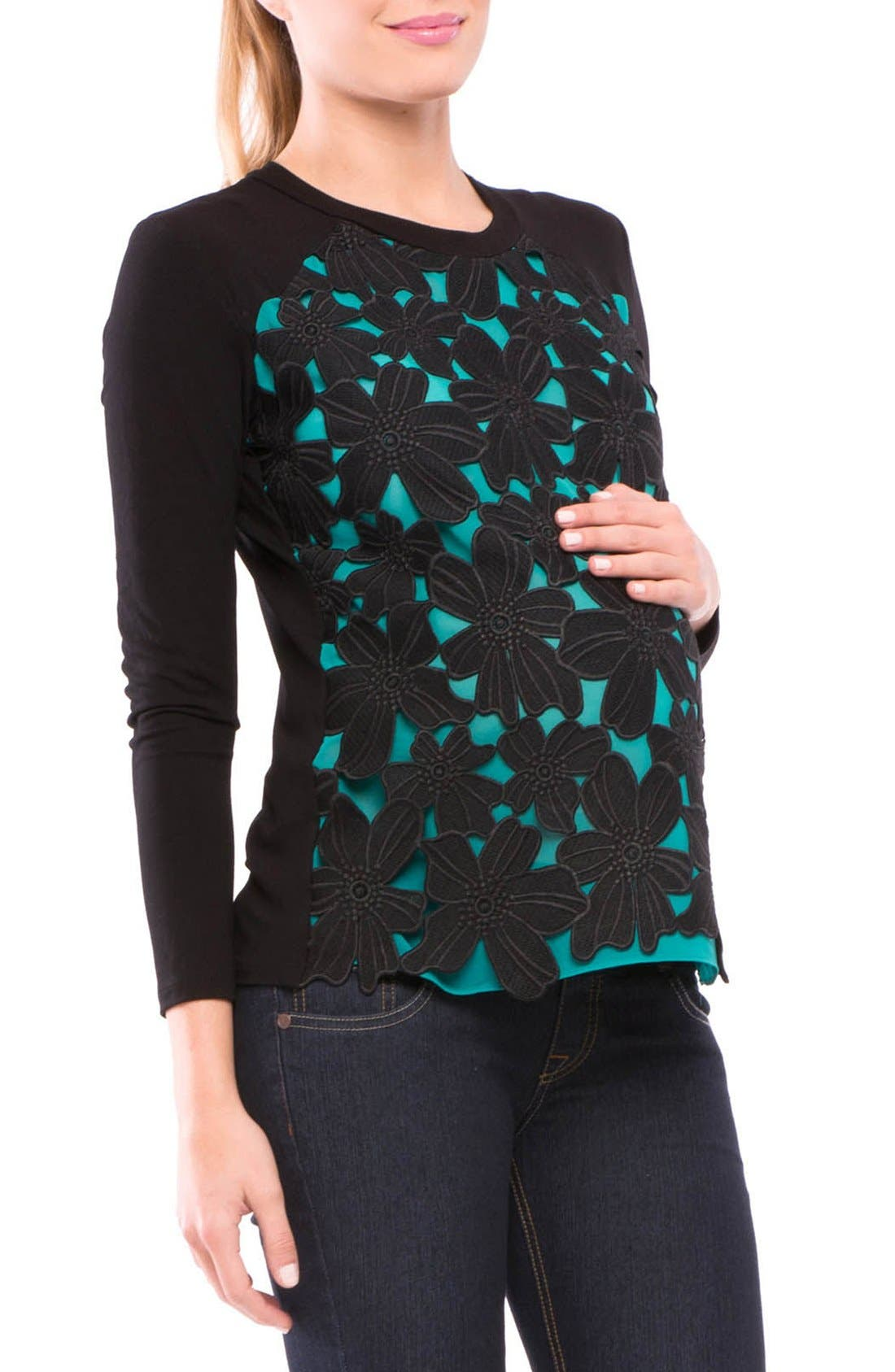 Floral Maternity Top,                             Alternate thumbnail 2, color,                             445