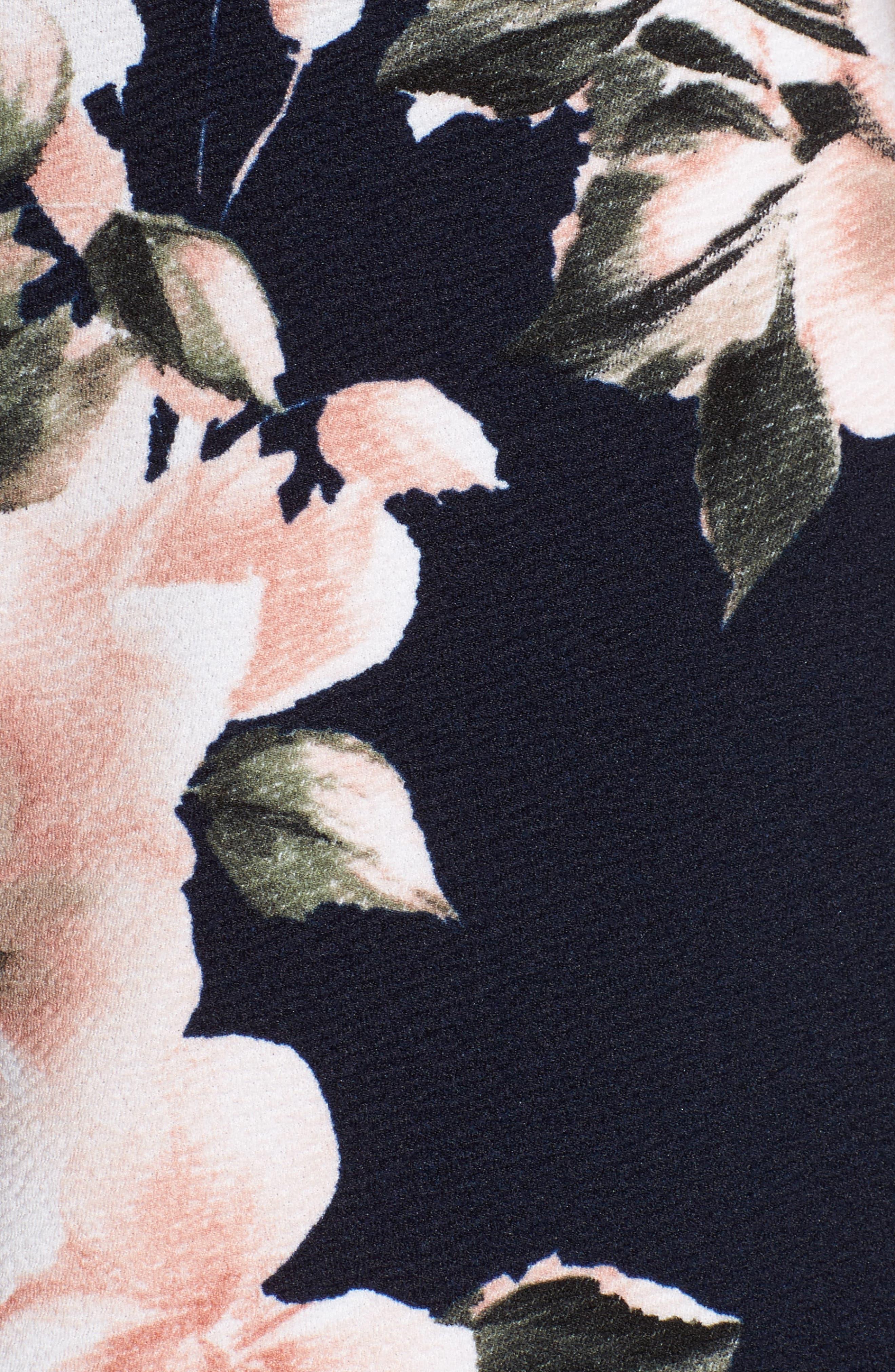 Floral Print Skater Dress,                             Alternate thumbnail 5, color,                             410