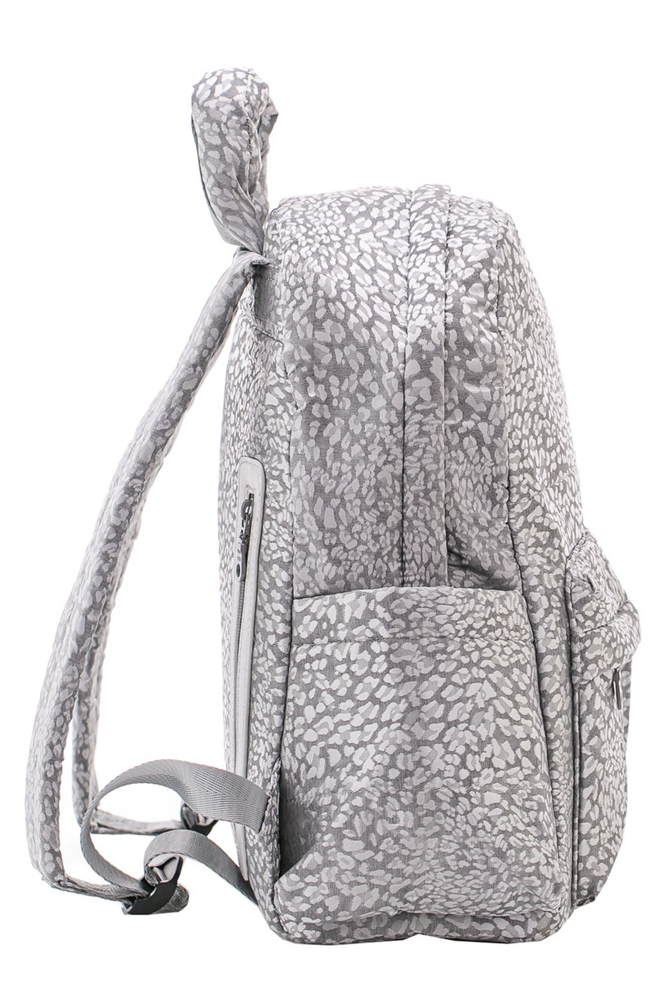 Print Water Repellent Diaper Backpack,                             Alternate thumbnail 4, color,                             SILVER LEOPARD