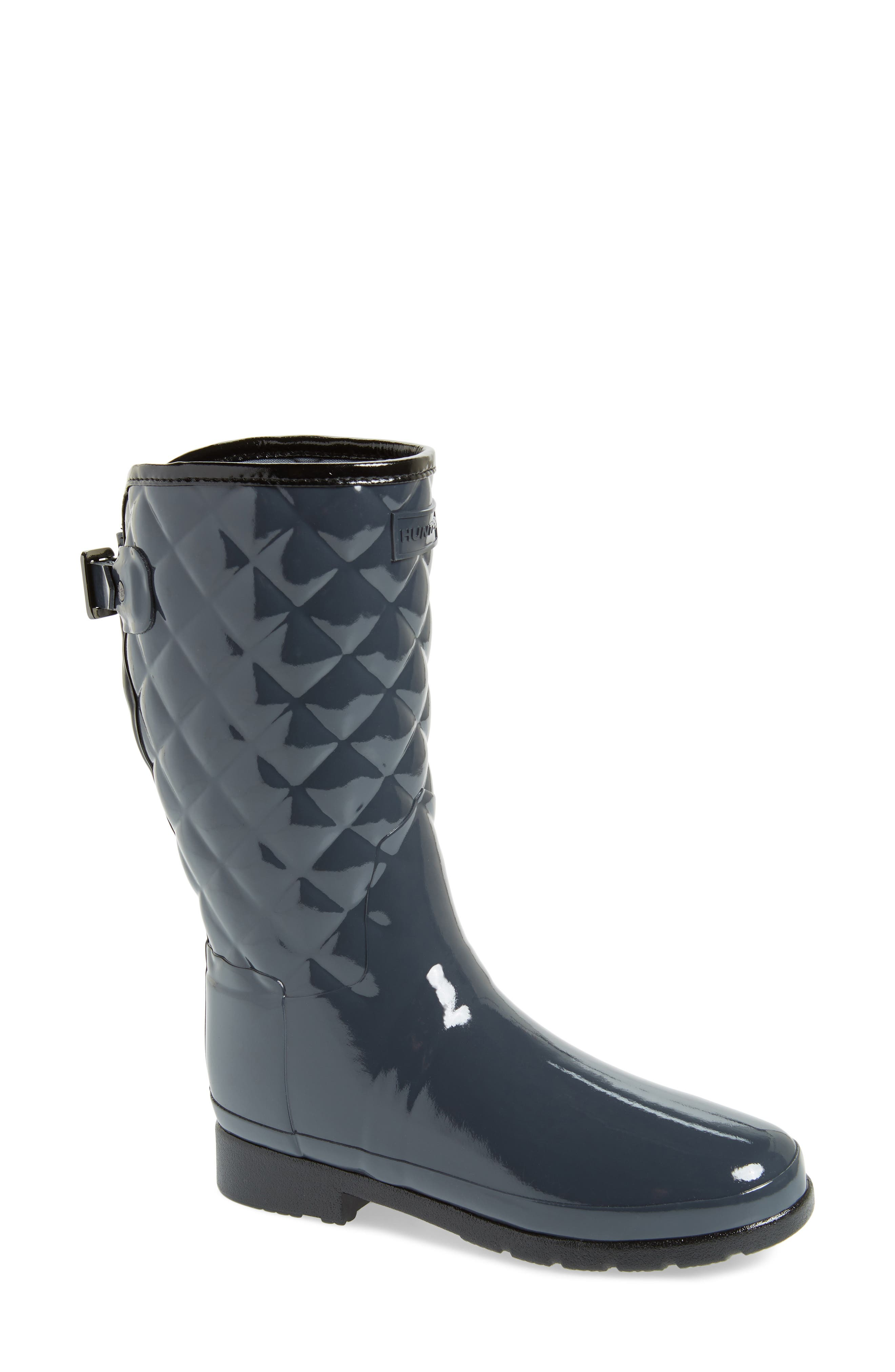 Refined High Gloss Quilted Short Waterproof Rain Boot,                             Main thumbnail 1, color,                             DARK SLATE