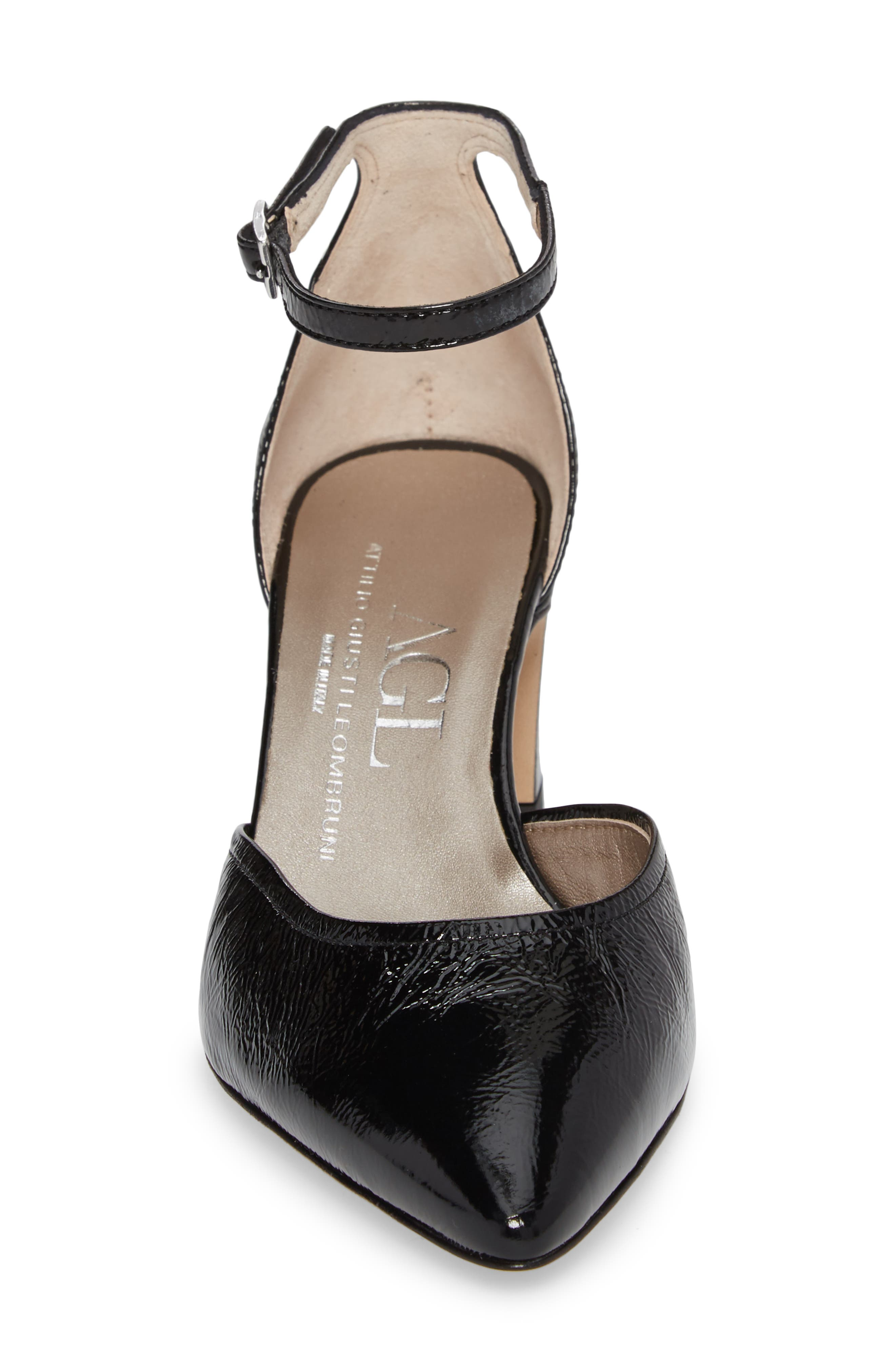 d'Orsay Ankle Strap Pump,                             Alternate thumbnail 4, color,                             BLACK GLAMMY LEATHER