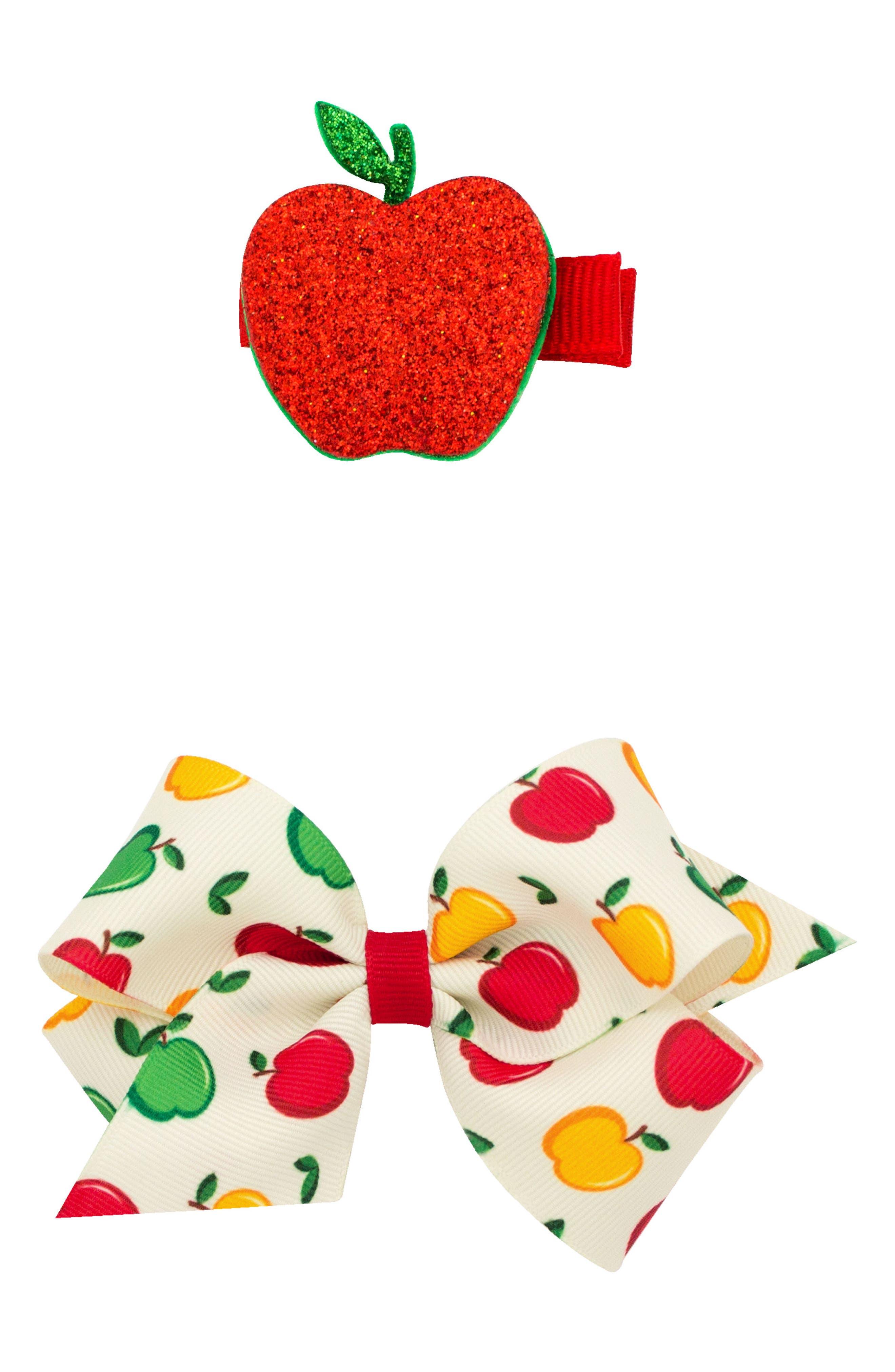 Small Bow & Apple Hair Clips,                             Main thumbnail 1, color,                             APPLE