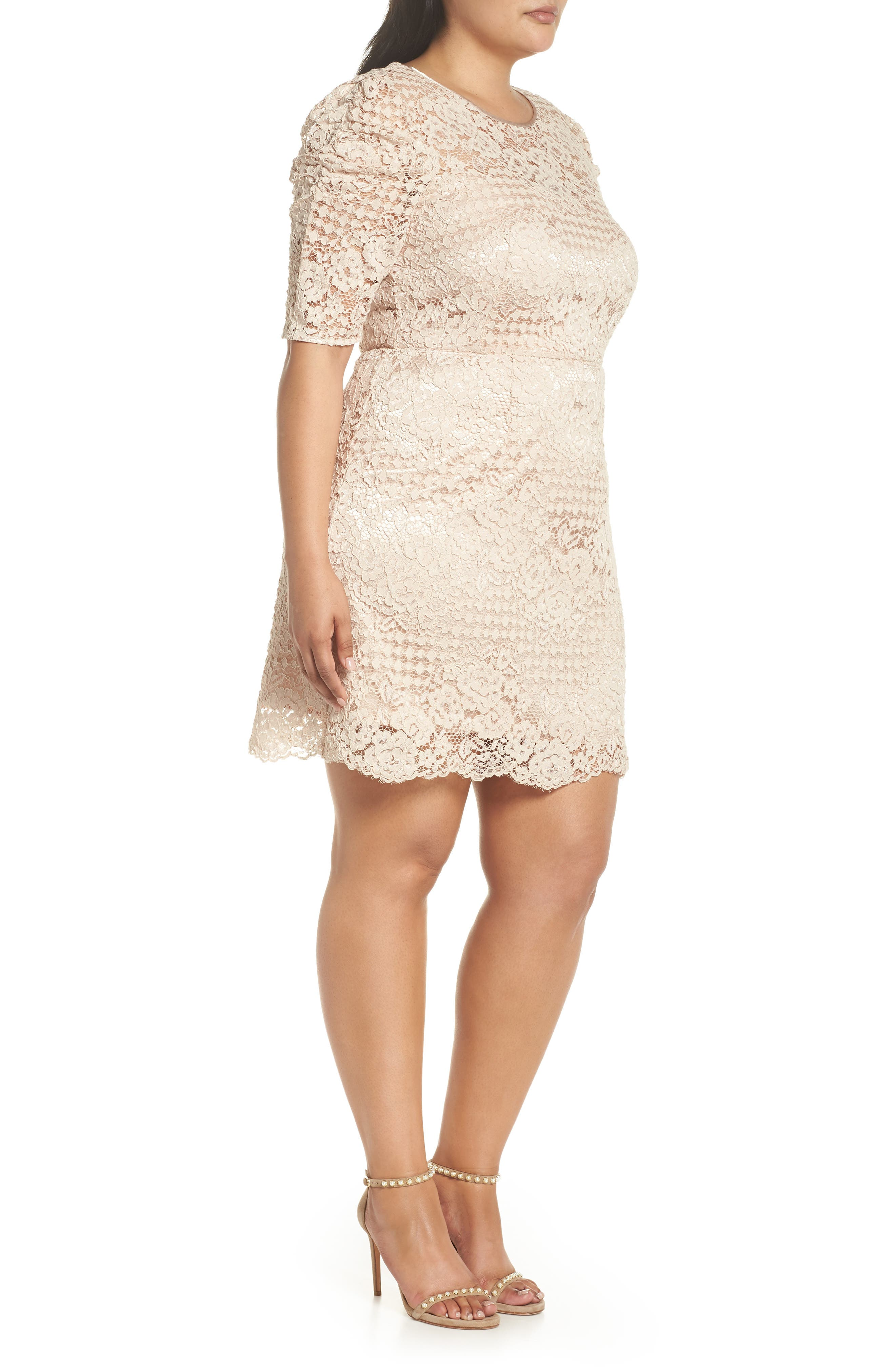 Ruched Sleeve Lace Dress,                             Alternate thumbnail 10, color,                             PINK BLUSH