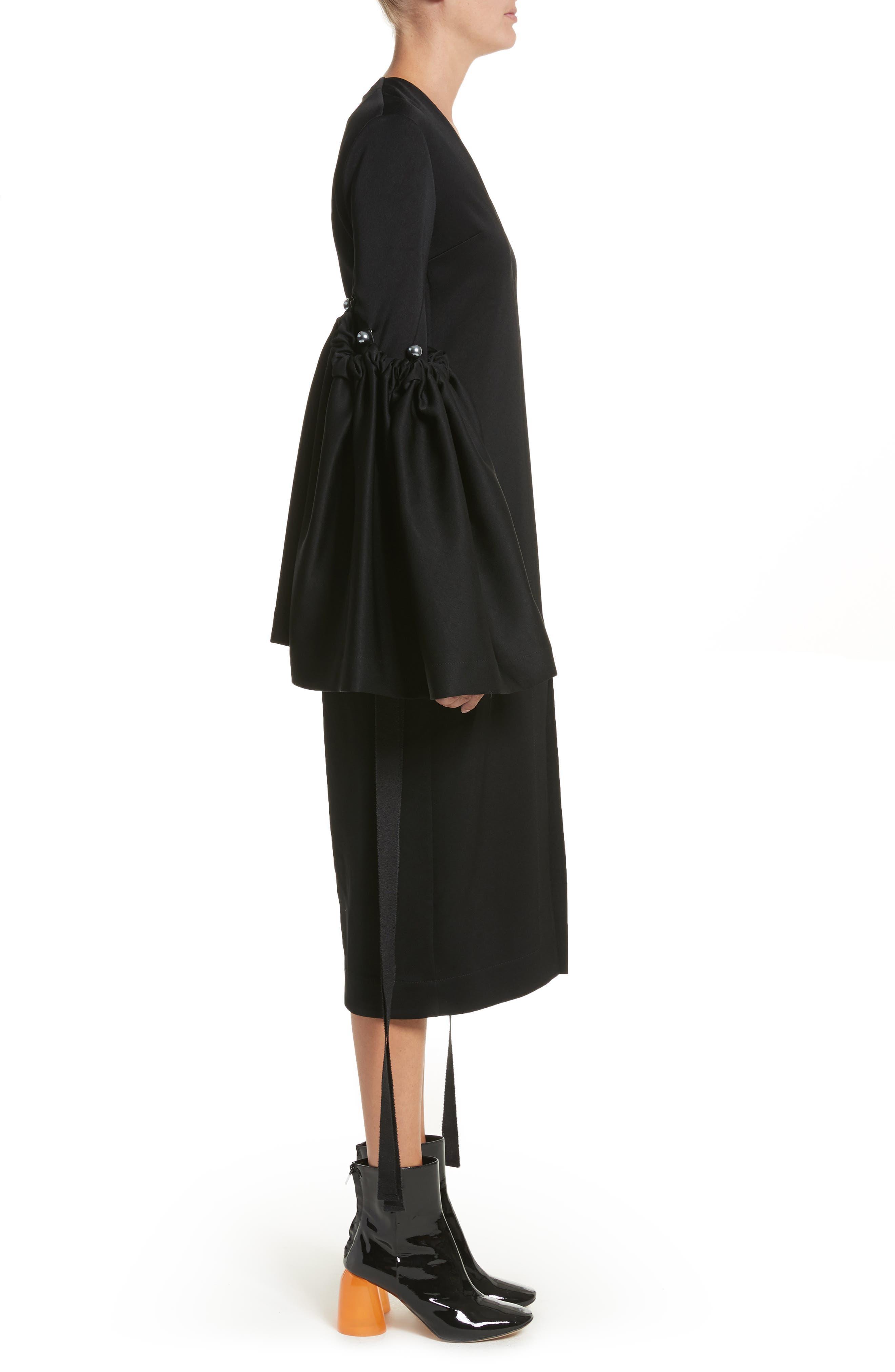 Adage Detachable Bell Sleeve Dress,                             Alternate thumbnail 3, color,                             001