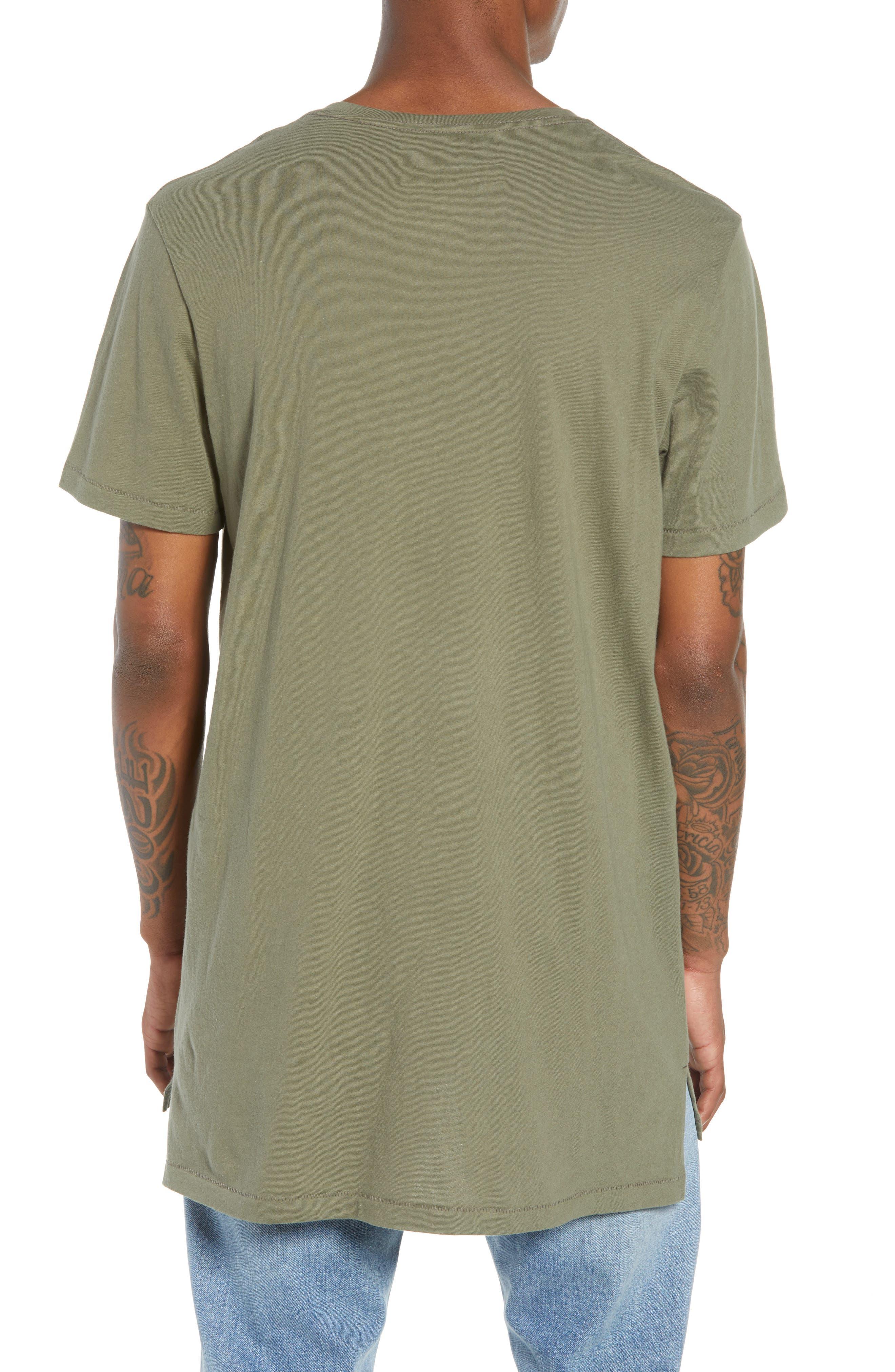 Longline T-Shirt,                             Alternate thumbnail 2, color,                             OLIVE GROVE
