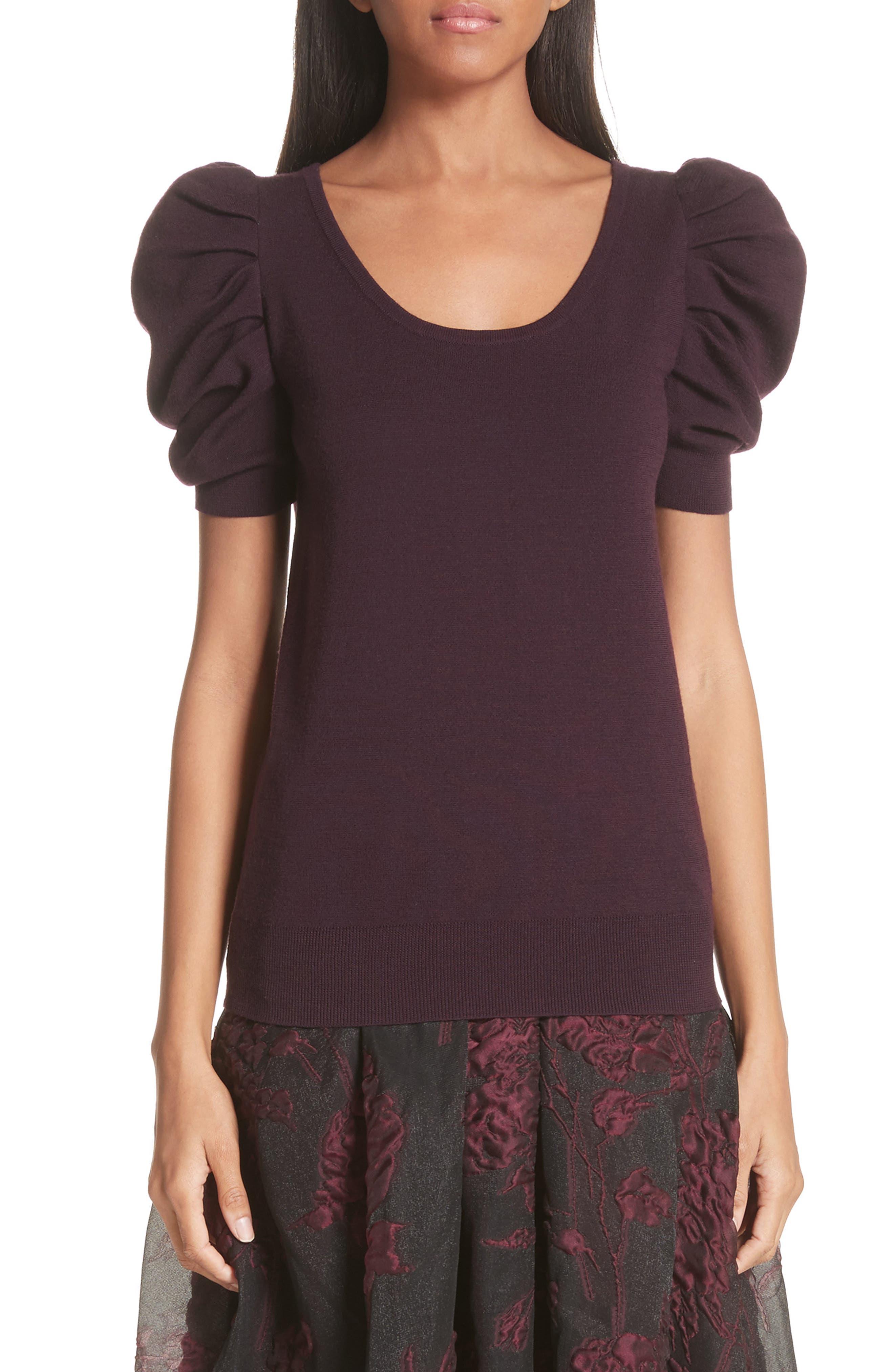 Co Puff Shoulder Merino Wool Sweater, Purple