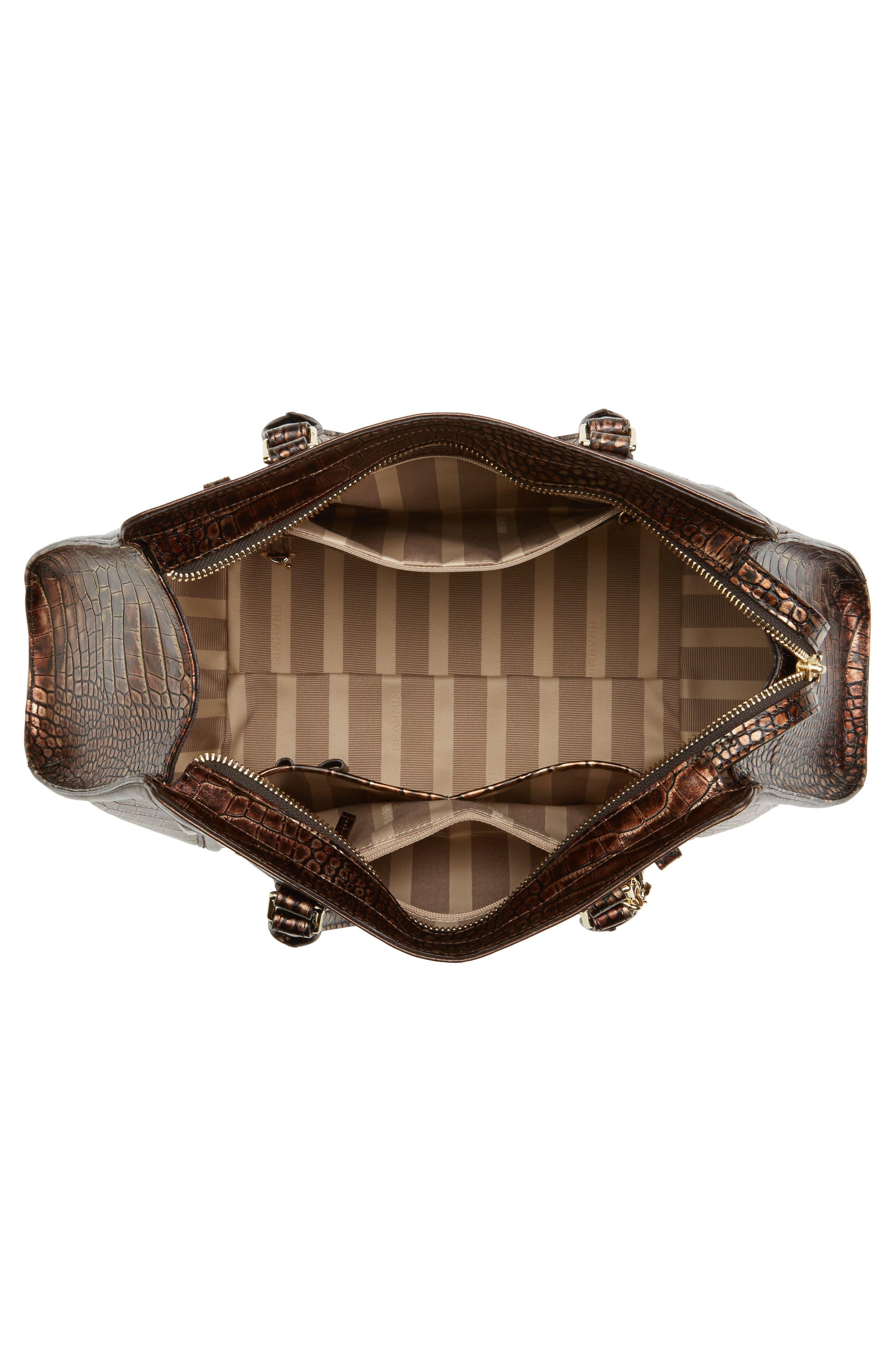 Milan Arden Embossed Leather Satchel,                             Alternate thumbnail 4, color,                             200