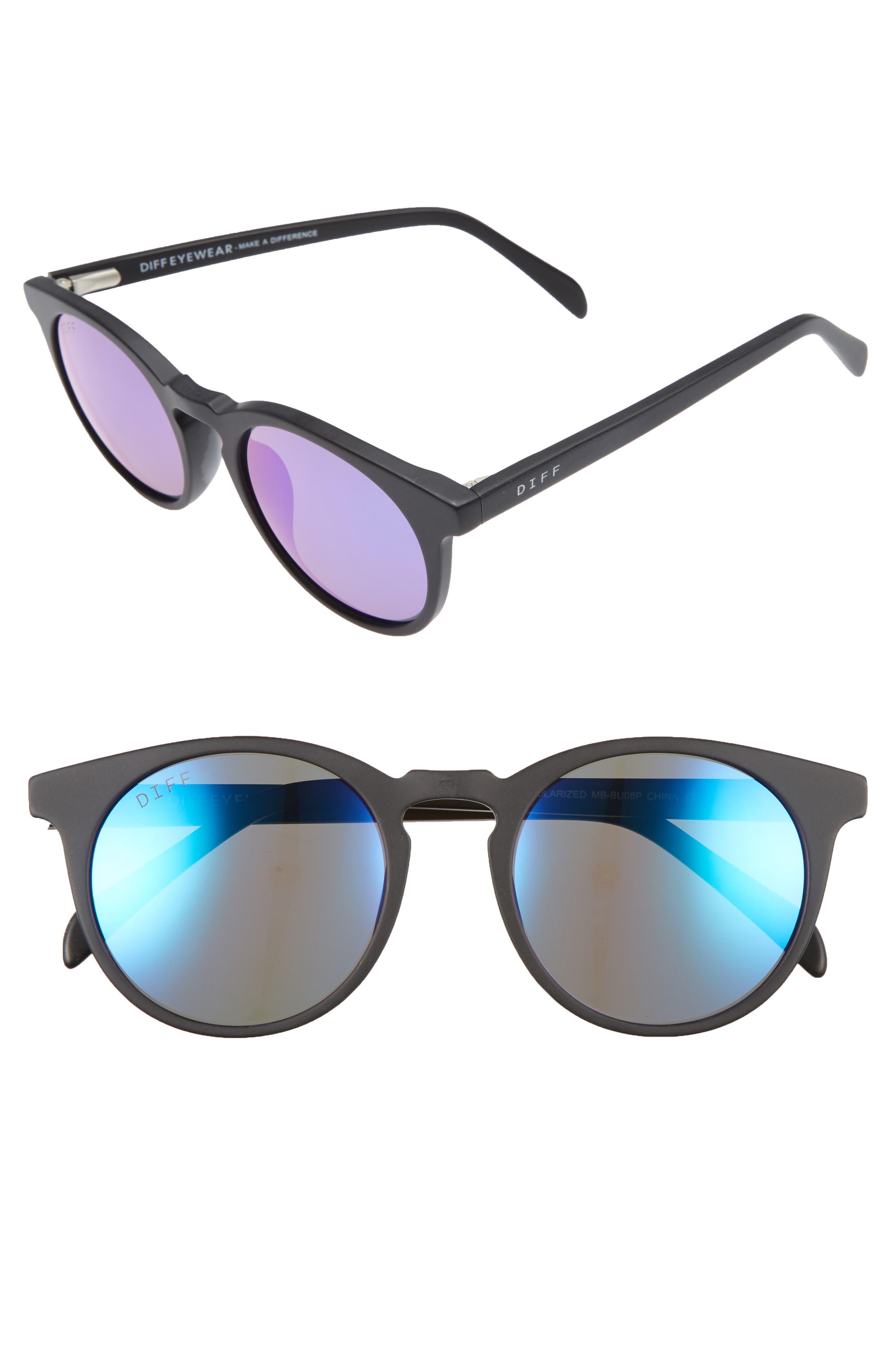 Charlie 48mm Mirrored Polarized Round Retro Sunglasses,                         Main,                         color, 001