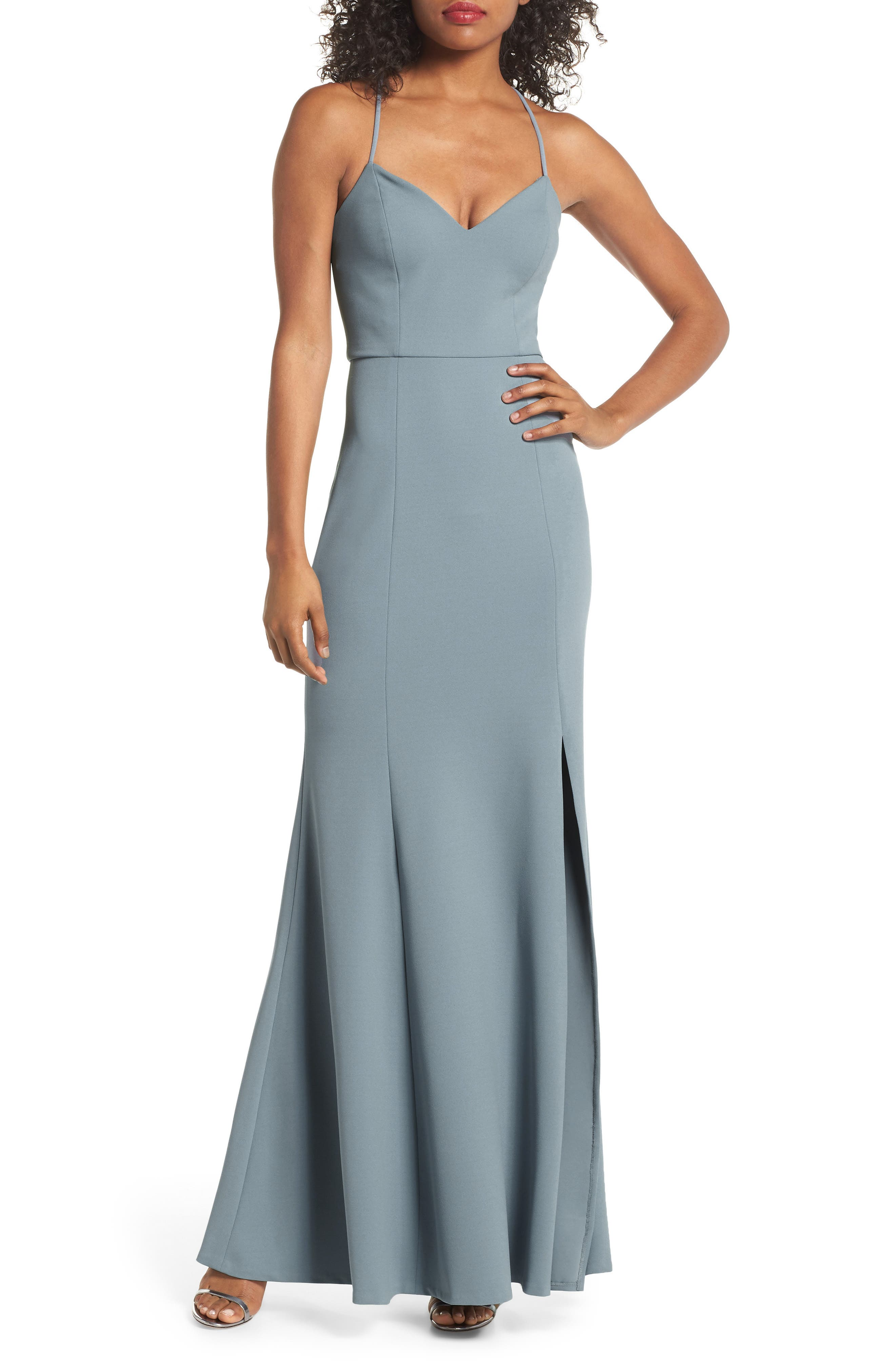 Jenny Yoo Reese Crepe Knit Gown, Blue