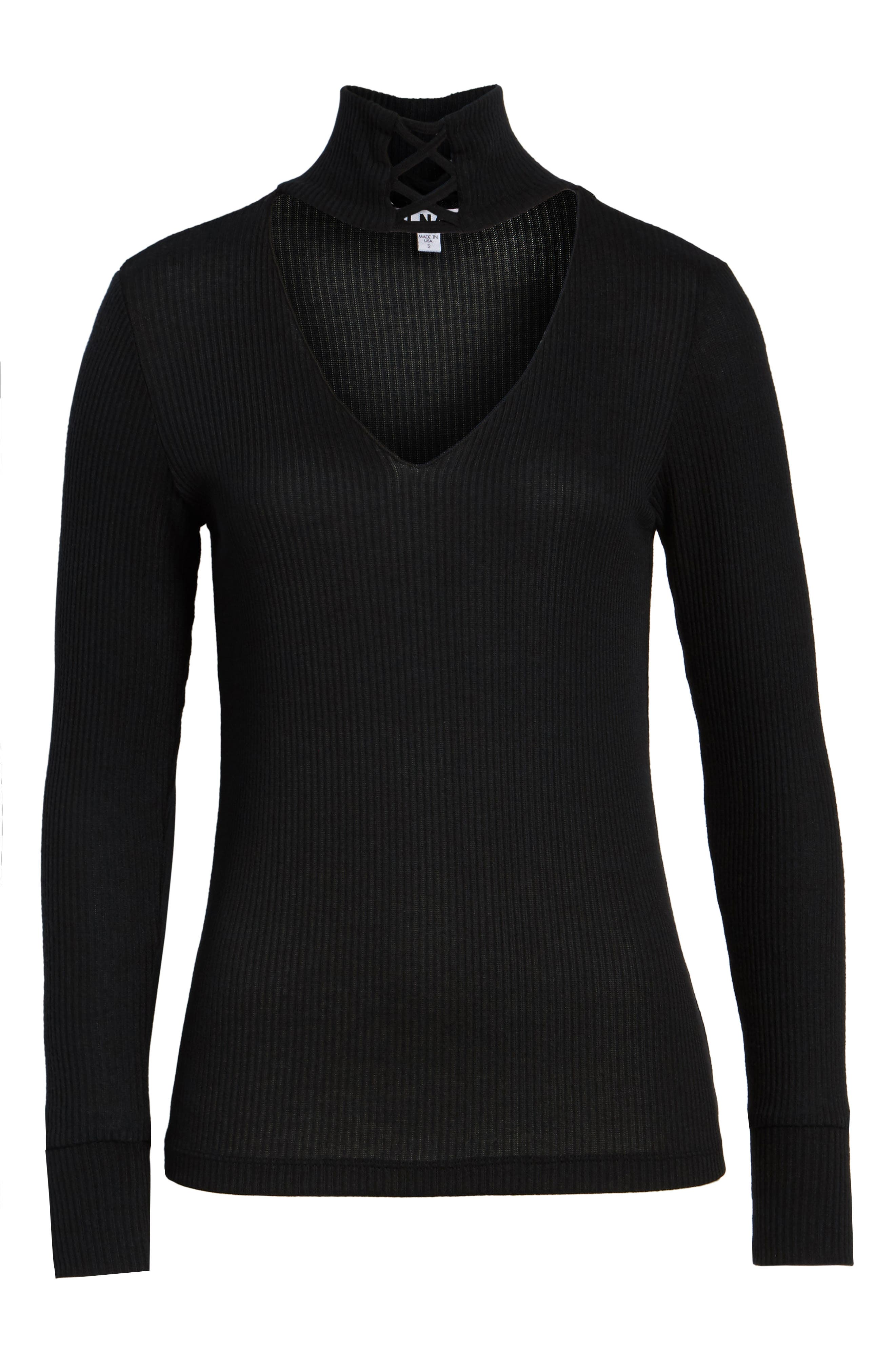 Lace-Up Turtleneck Top,                             Alternate thumbnail 6, color,